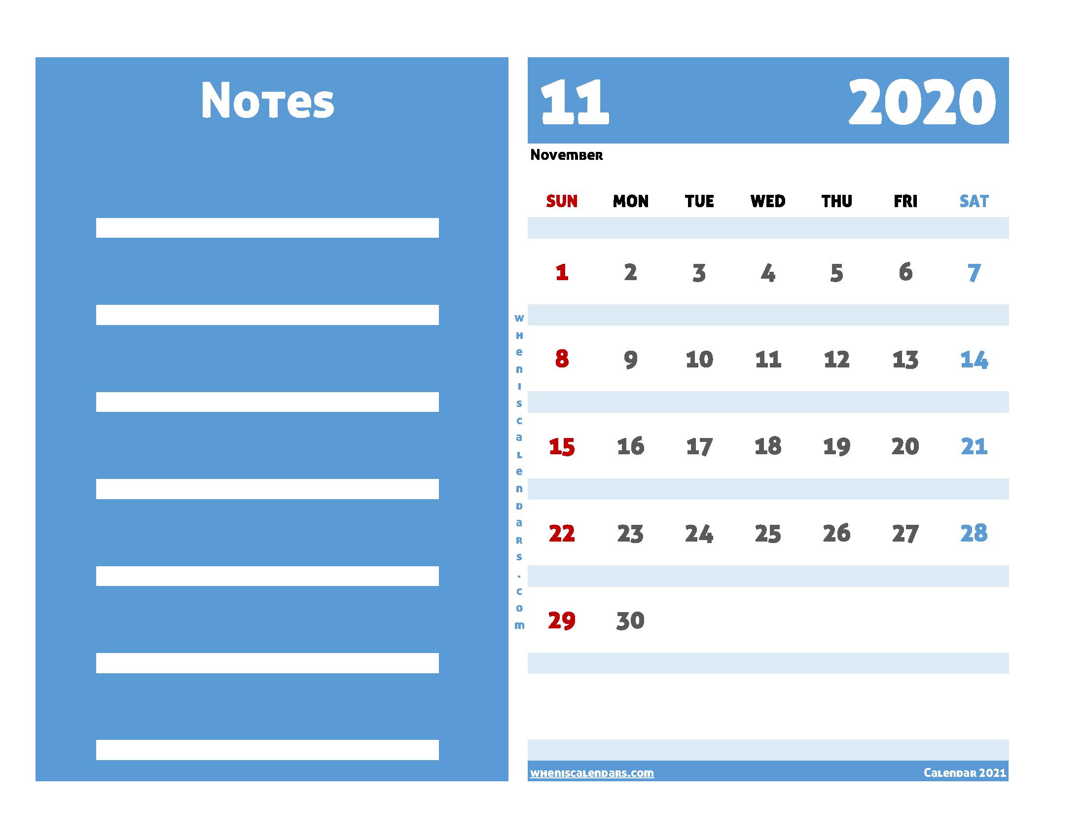 Free Printable Calendar November 2020