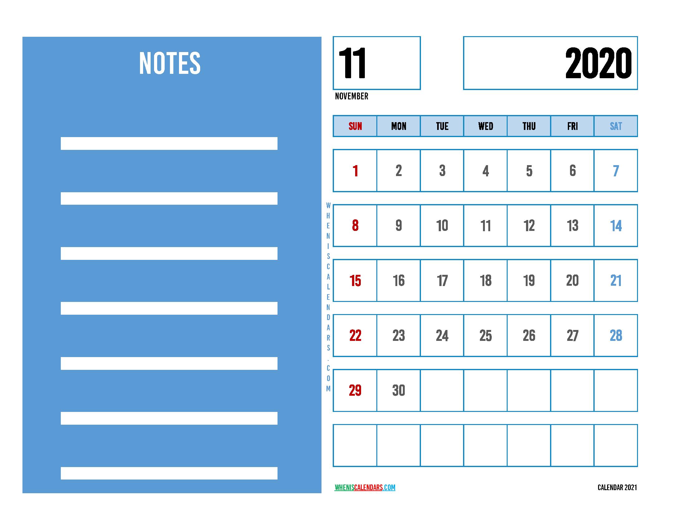 Editable November 2020 Calendar Printable