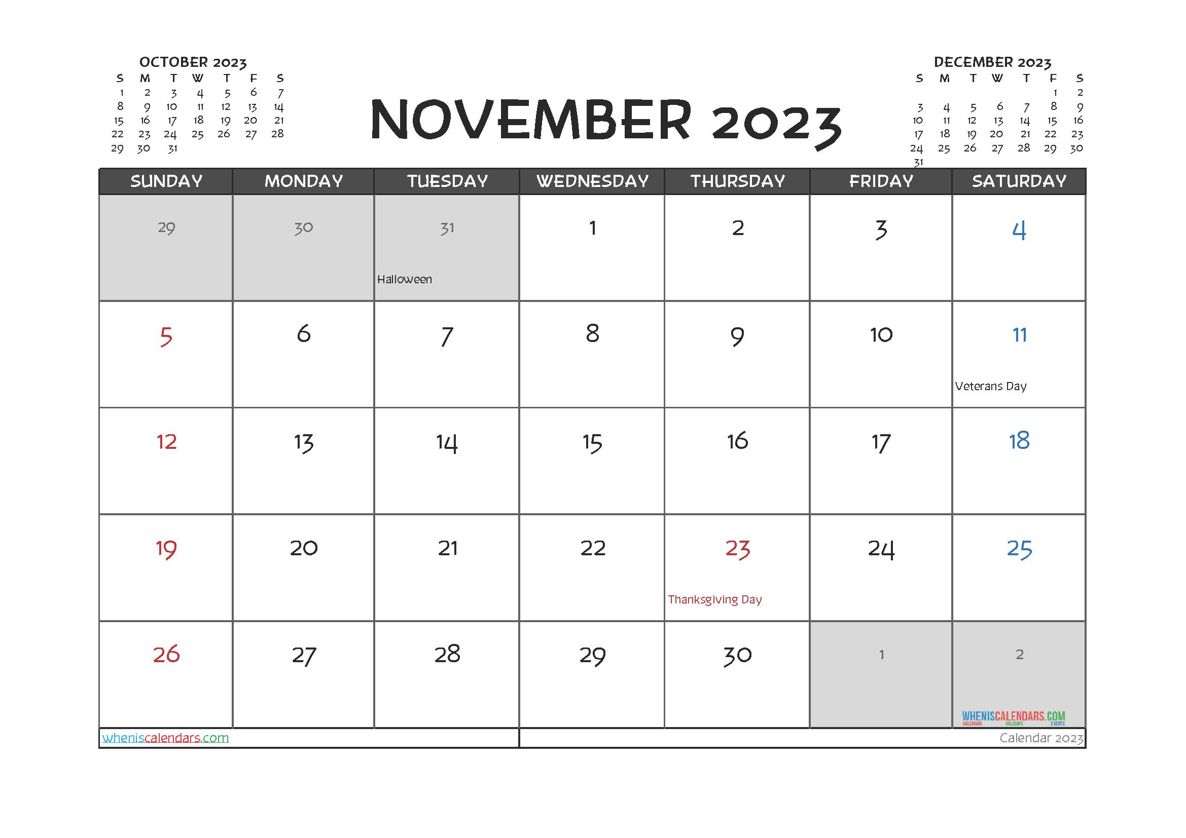 November 2023 Calendar Printable For Free