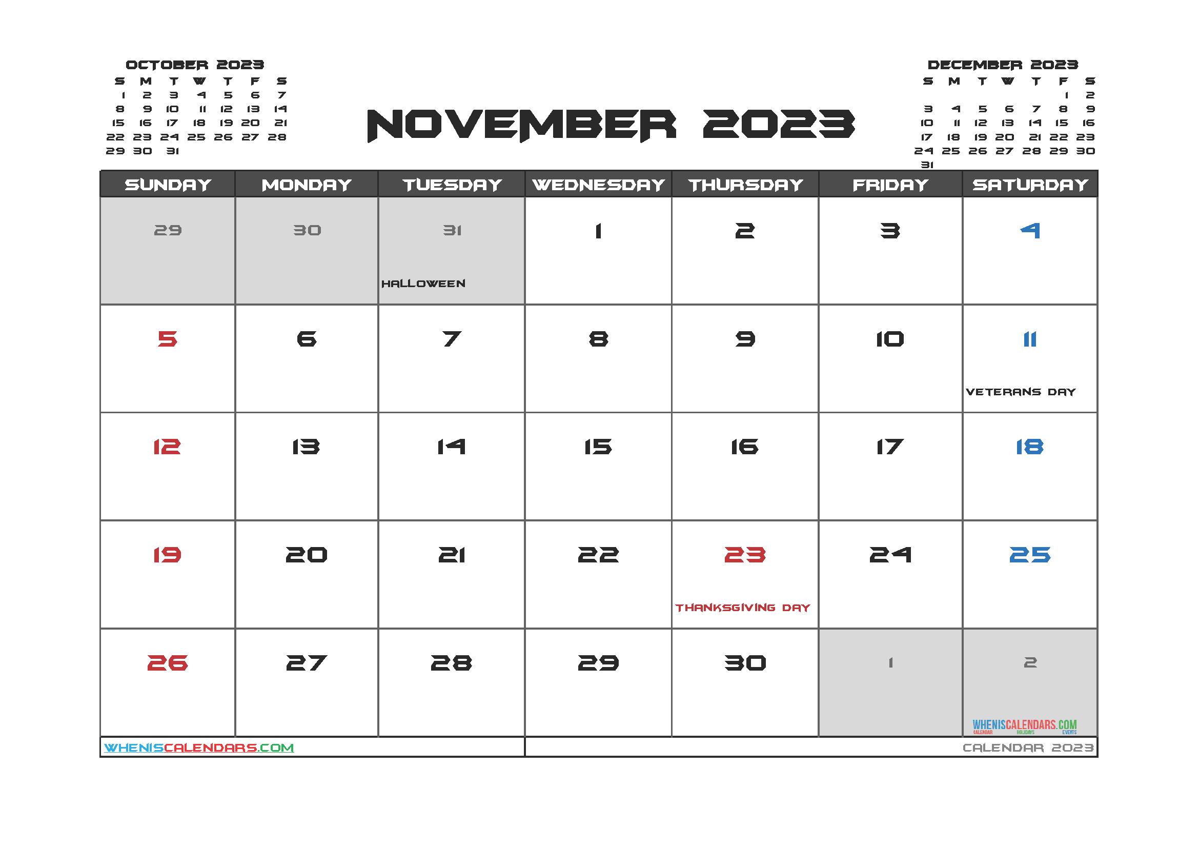 Printable November 2023 Calendar PDF