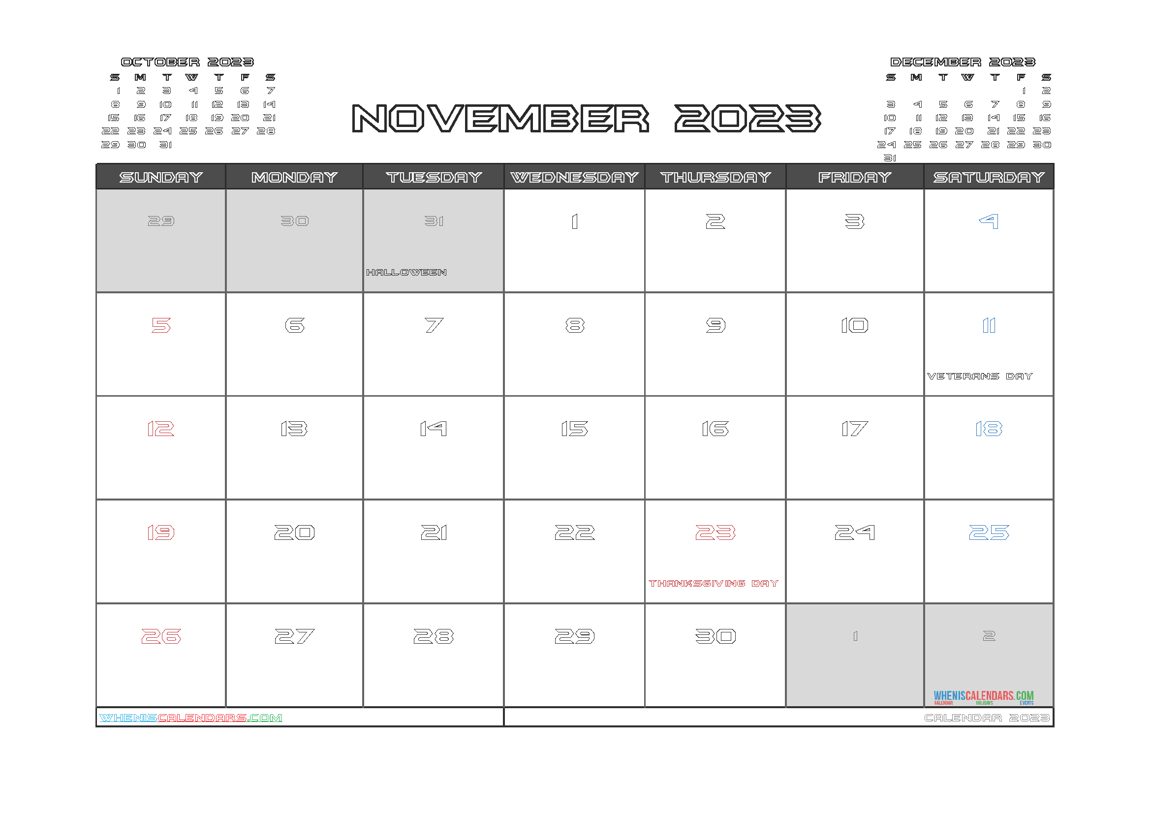 Printable Calendar November 2023 Free