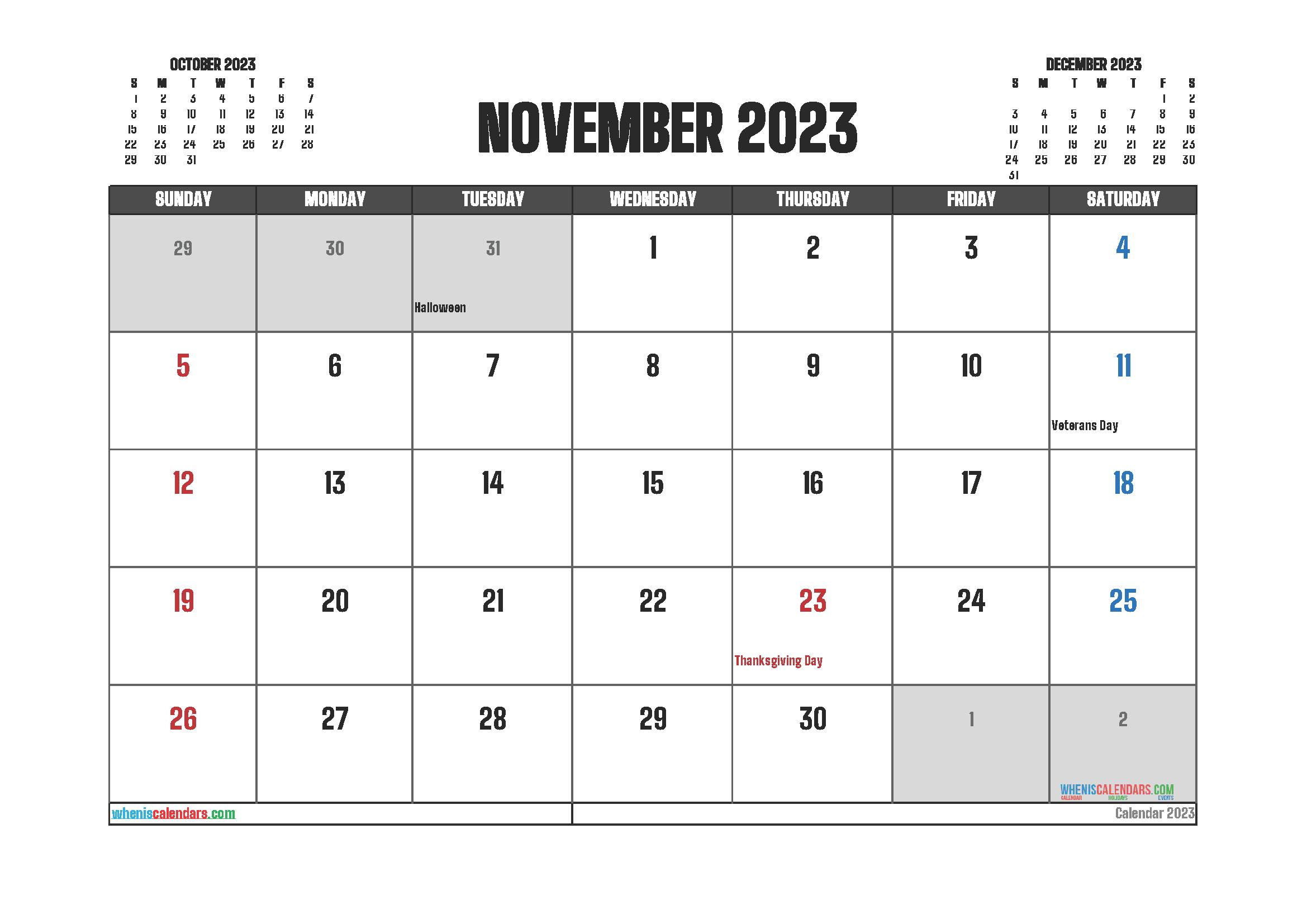 Editable November 2023 Calendar Printable