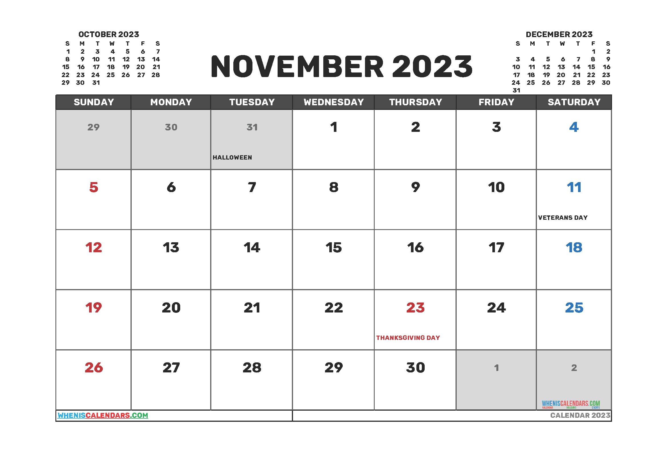 Free Editable Calendar November 2023 PDF