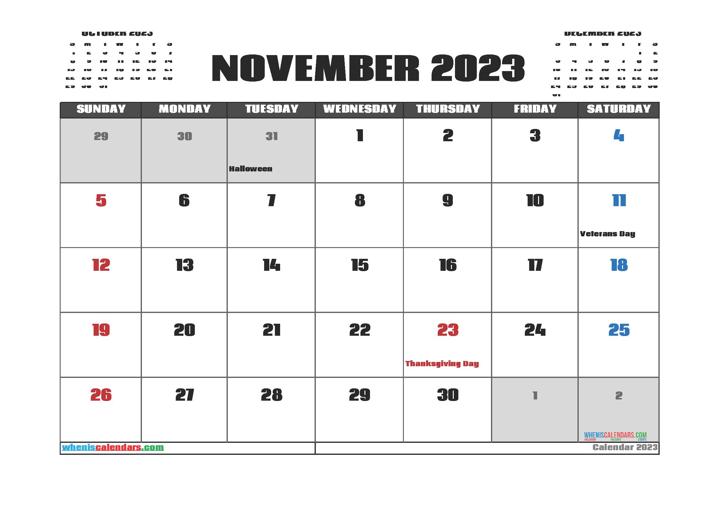 Free November 2023 Printable Calendar PDF