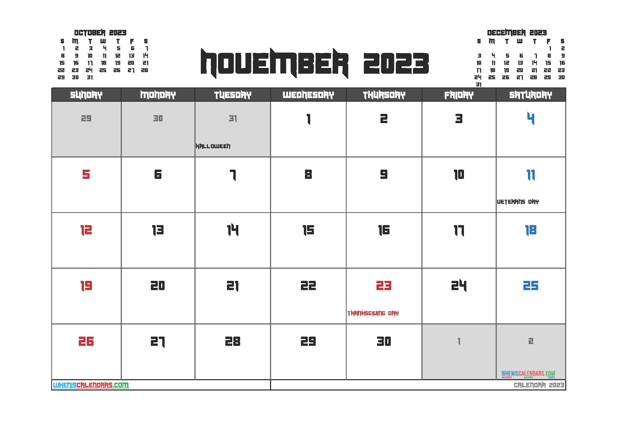 Free Printable Calendar November 2023