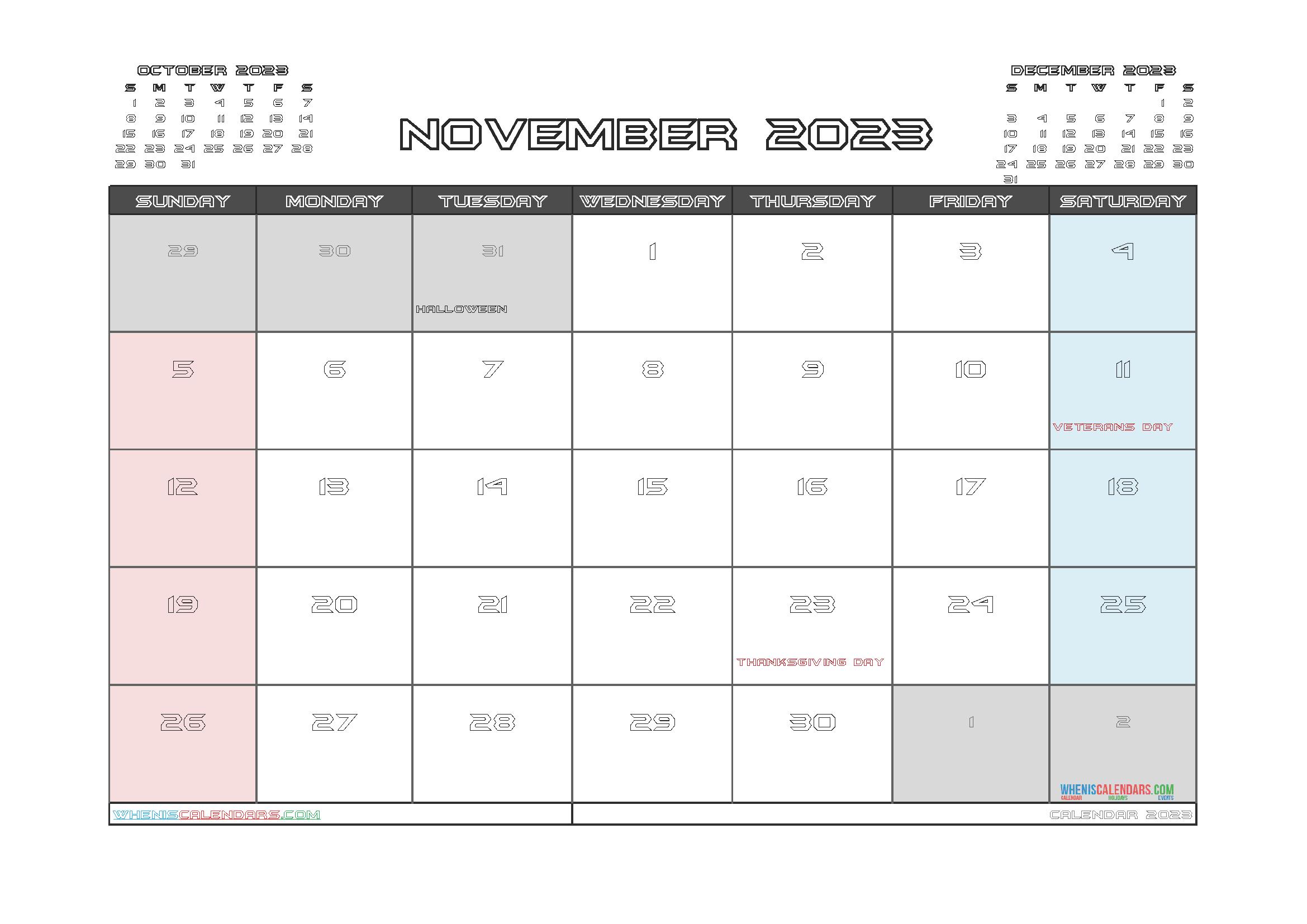 Free November 2023 Printable Calendar