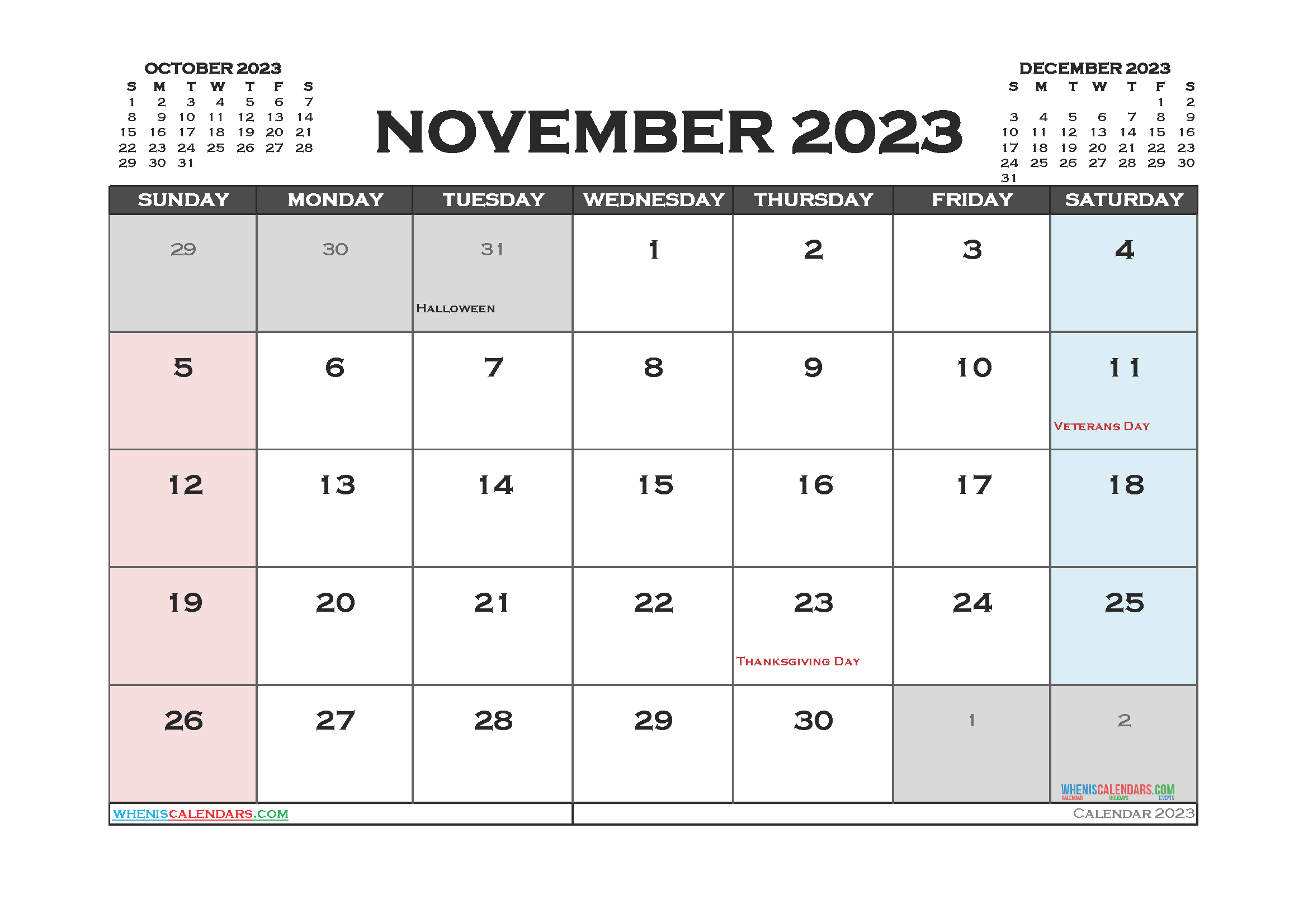 Printable November 2023 Calendar Free
