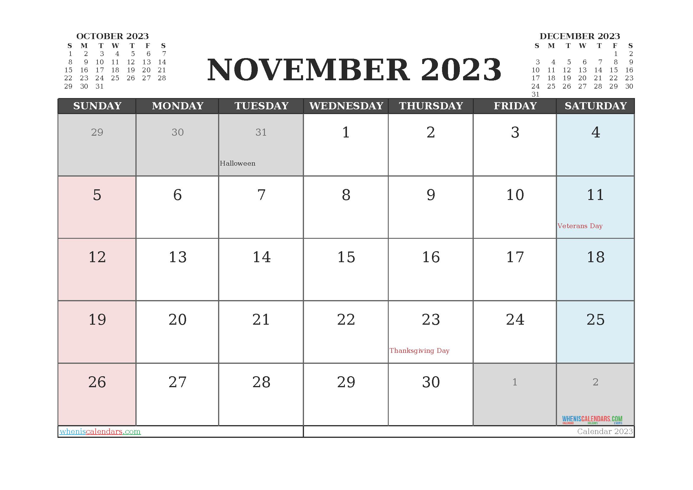 Editable Printable November 2023 Calendar