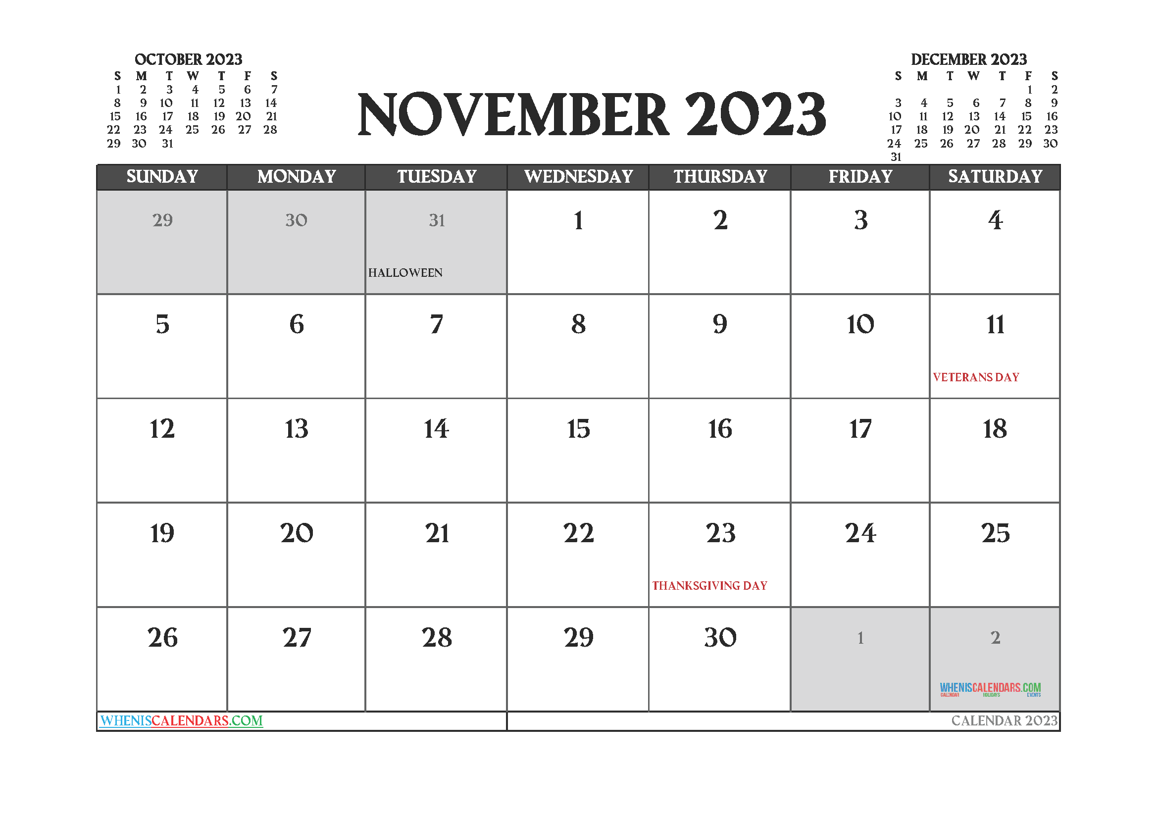 November 2023 Calendar Printable Free
