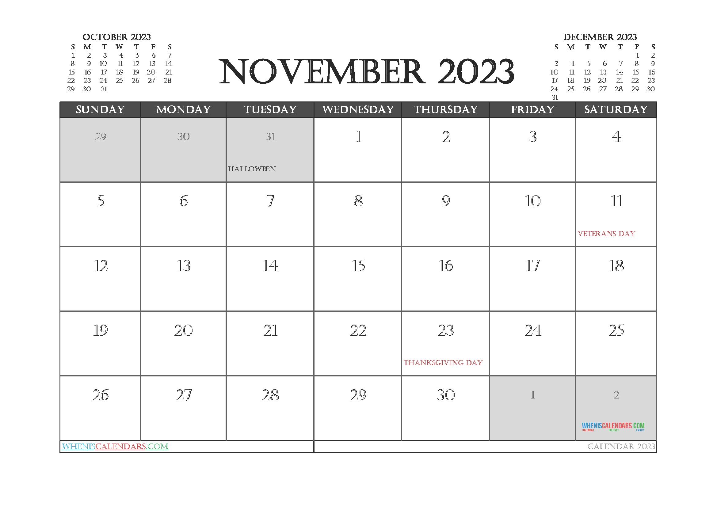 Free Printable November 2023 Calendar