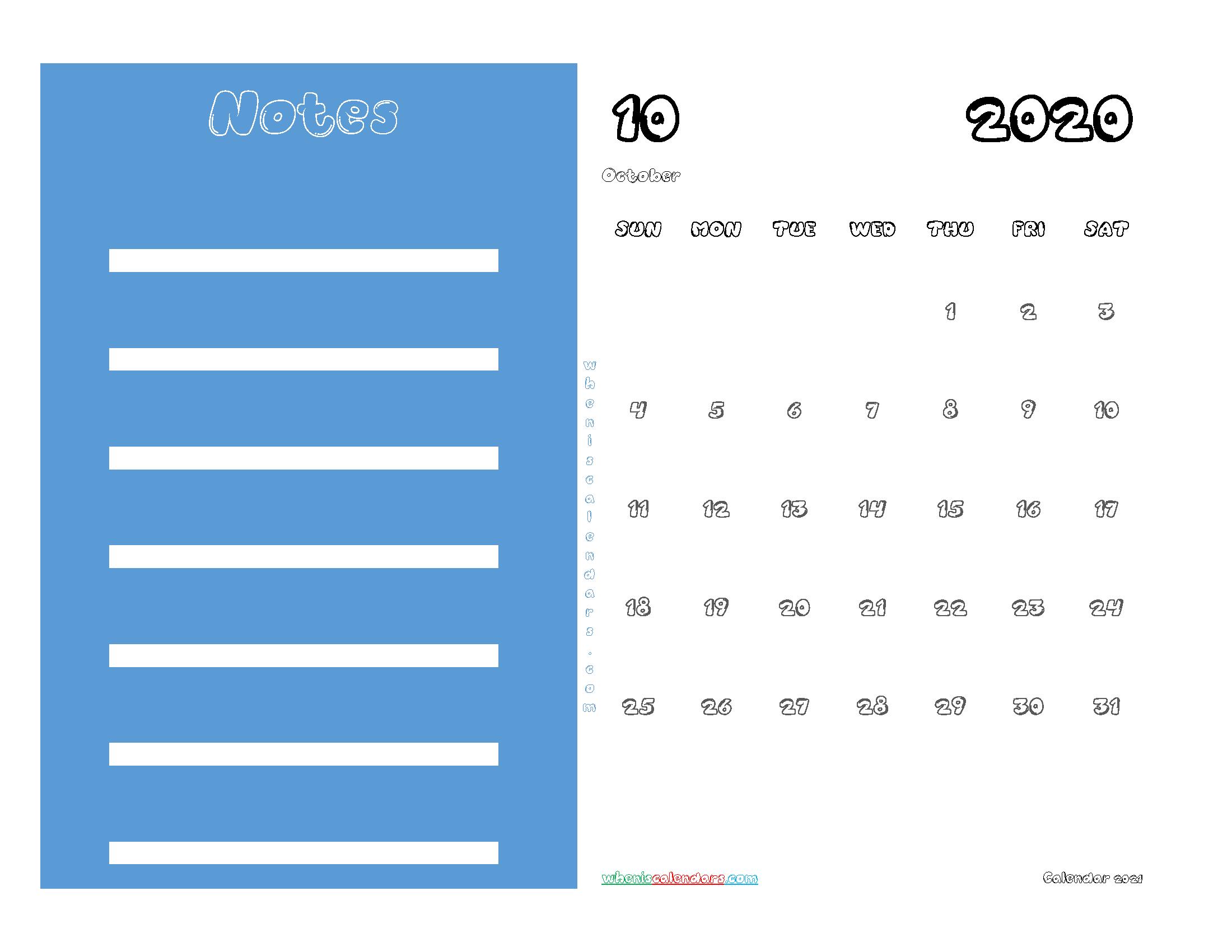 Free October 2020 Printable Calendar PDF