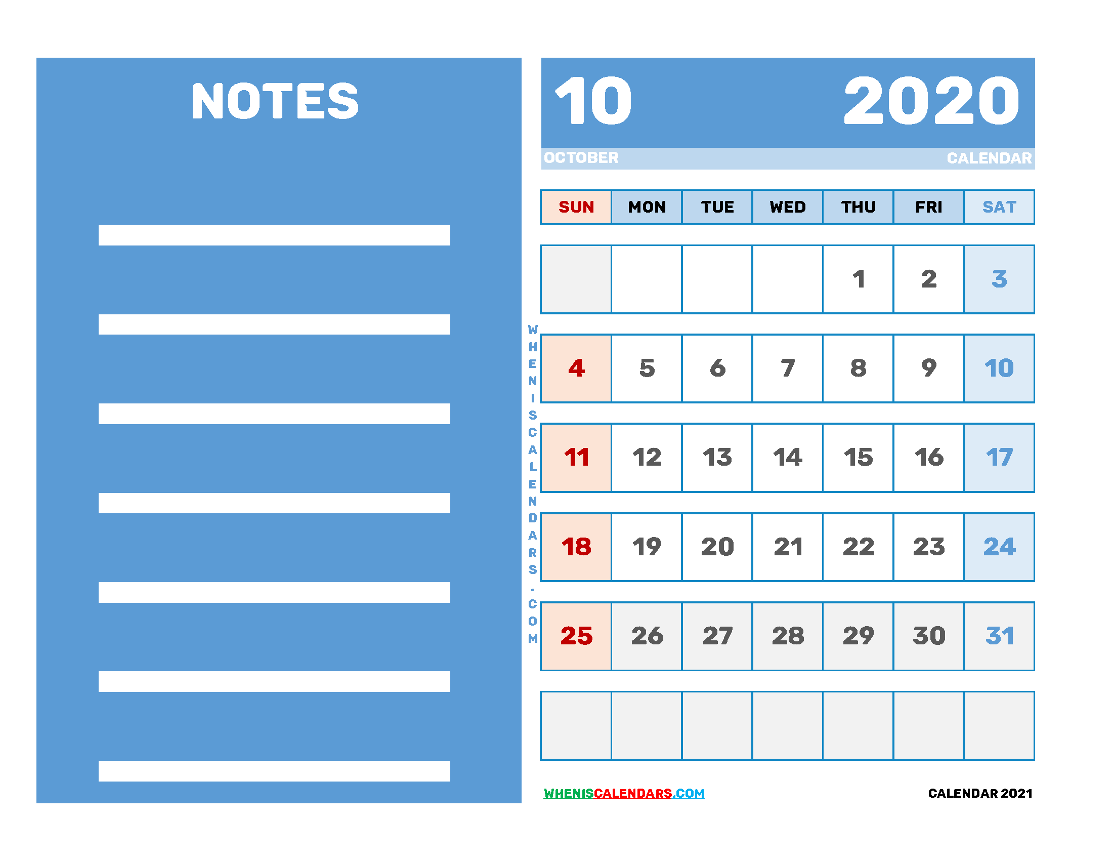 Free Editable October 2020 Printable Calendar