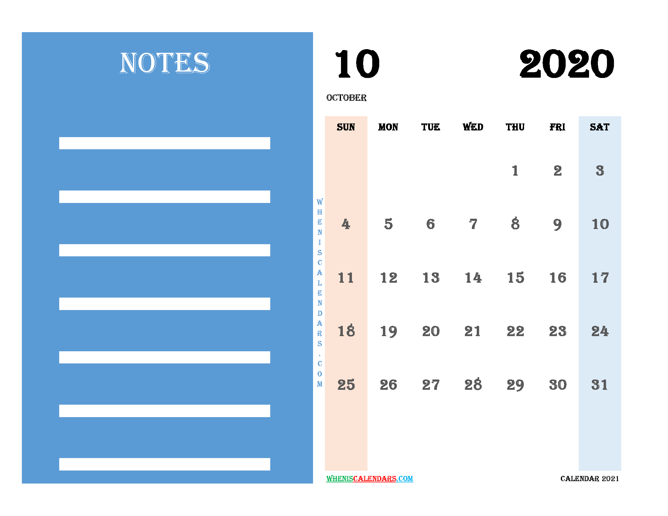 Free October 2020 Printable Calendar