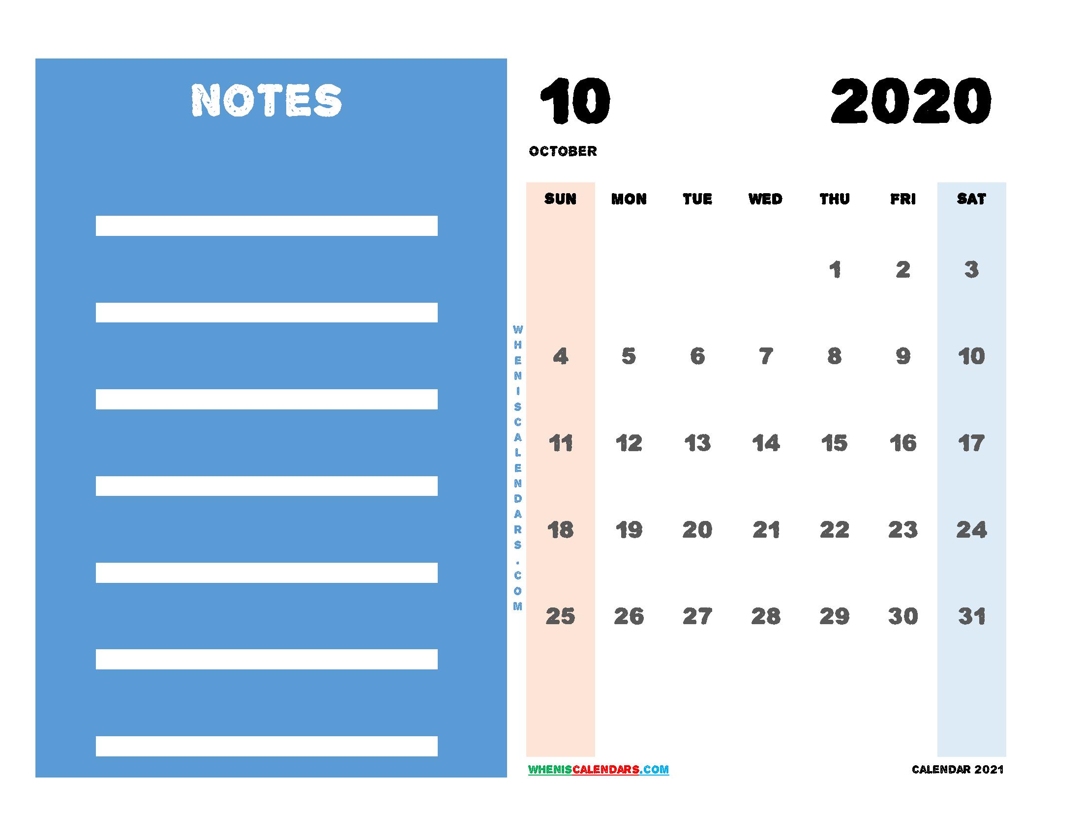 2020 October Calendar Printable Free