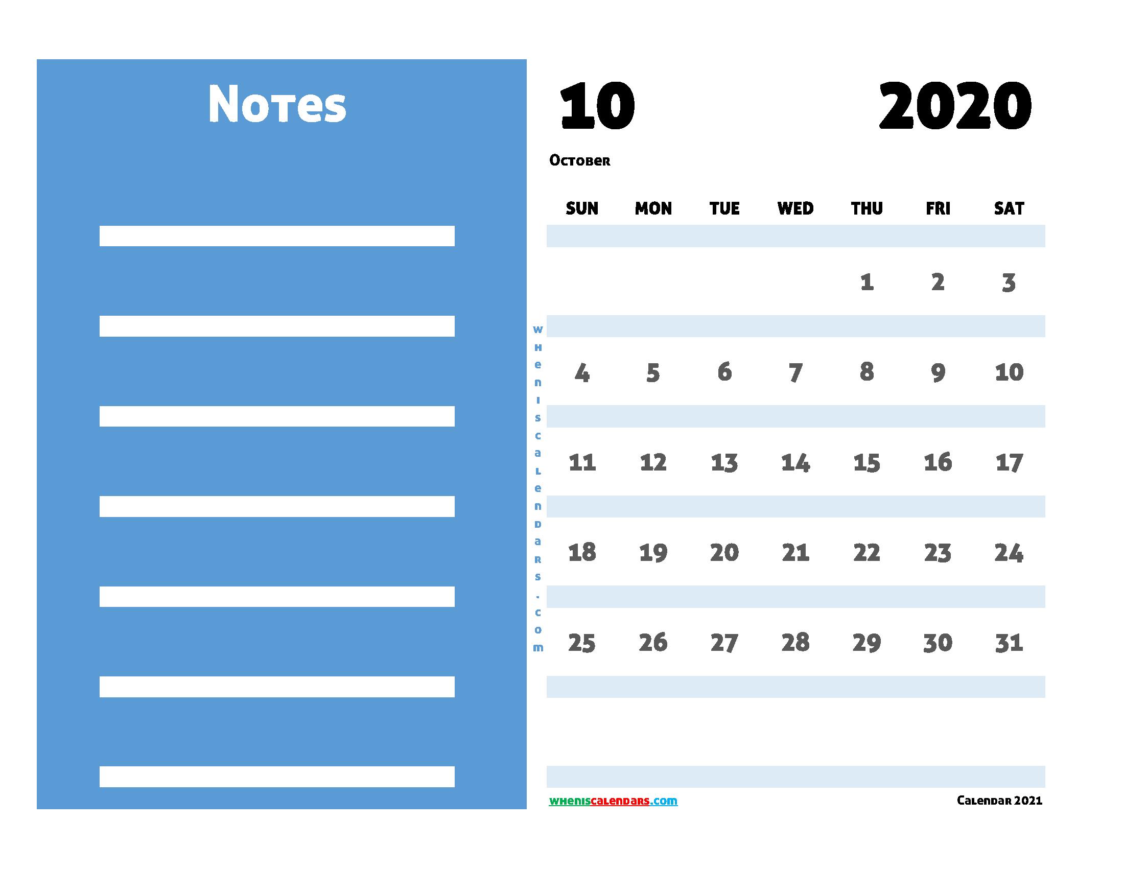Free Printable Calendar October 2020
