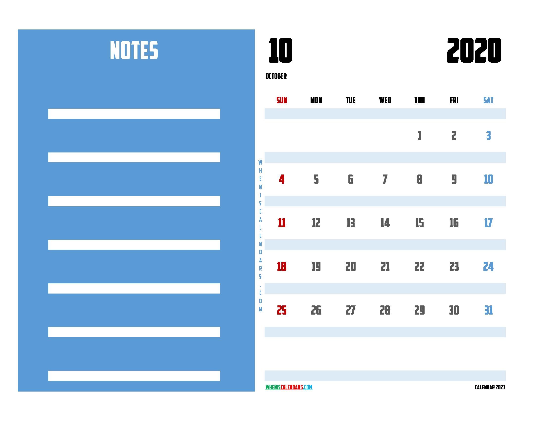 October 2020 Calendar Printable For Free