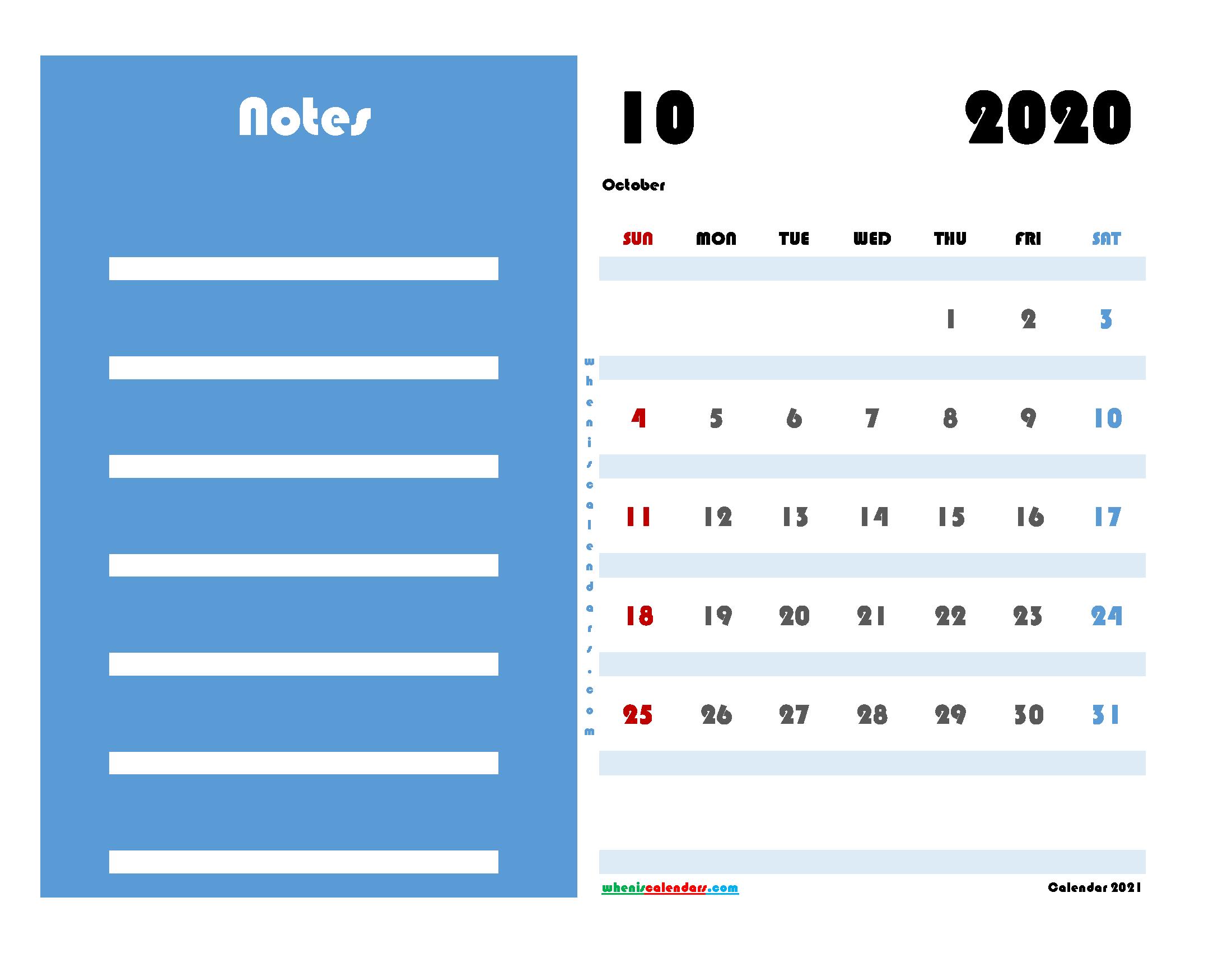 Free Editable October 2020 Calendar