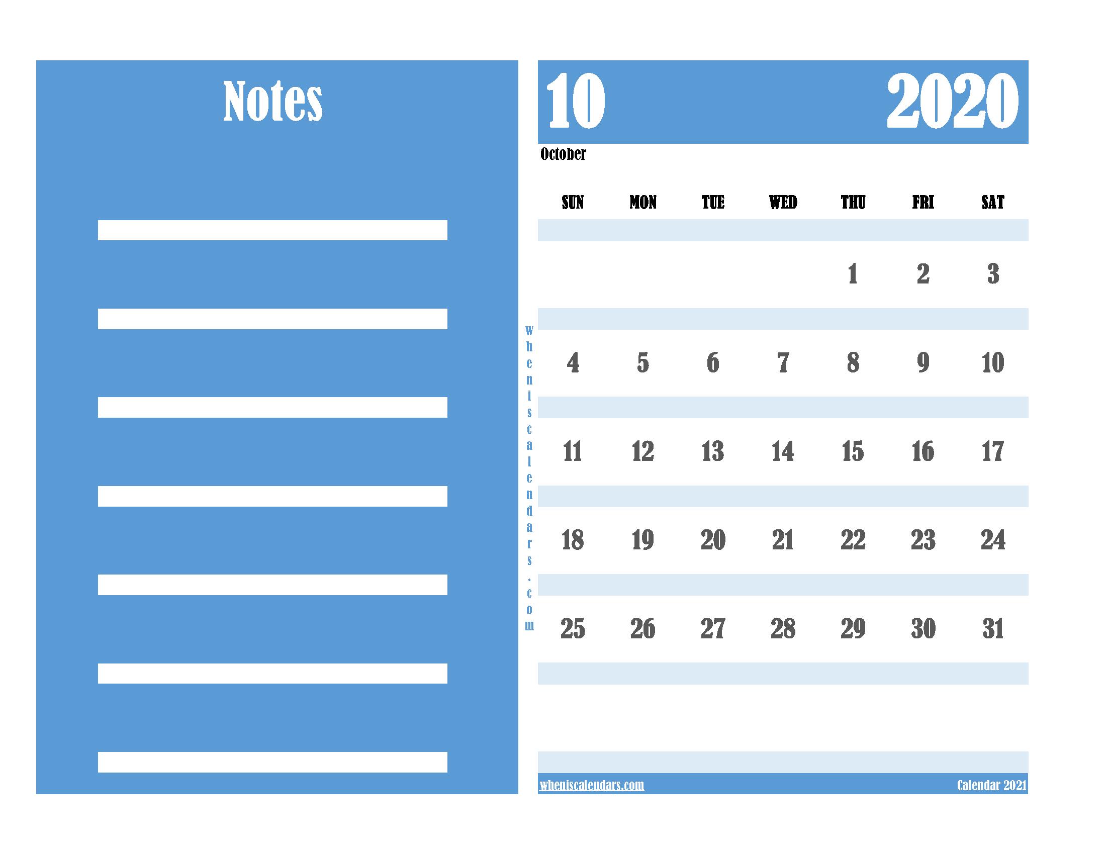 Free Editable Calendar October 2020 PDF