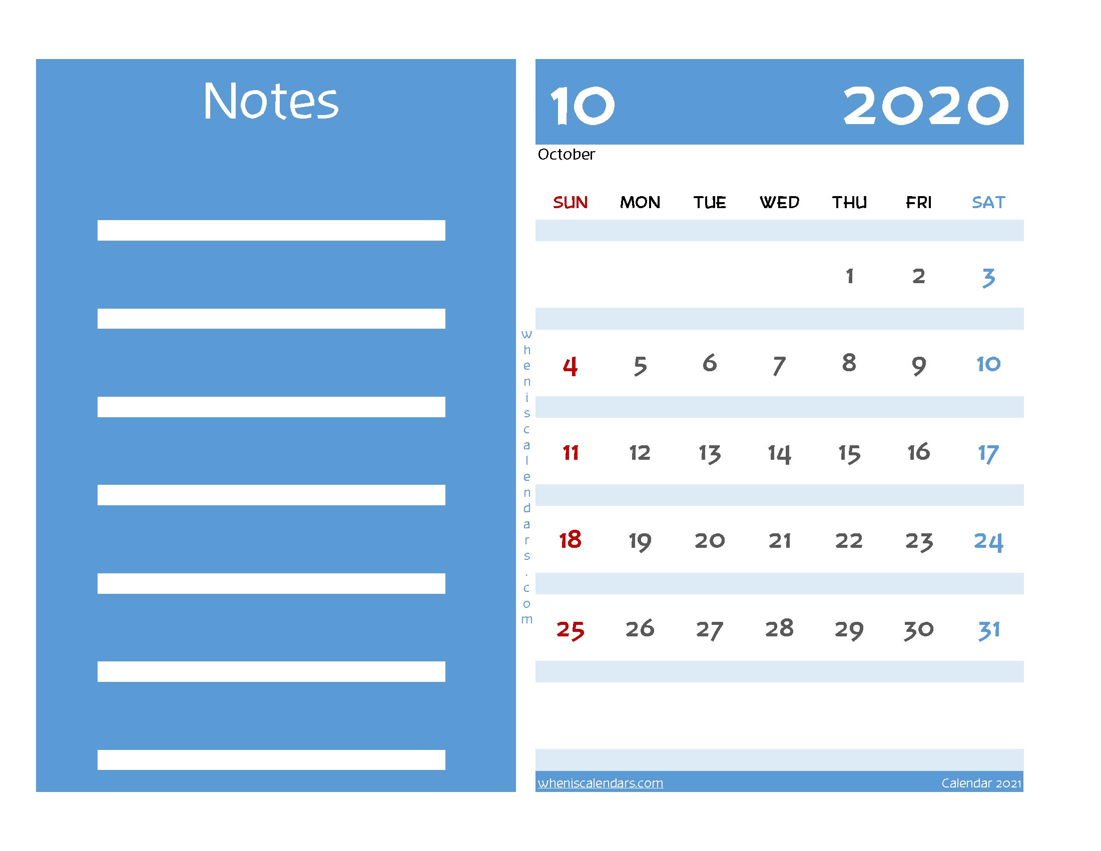 Editable Printable October 2020 Calendar