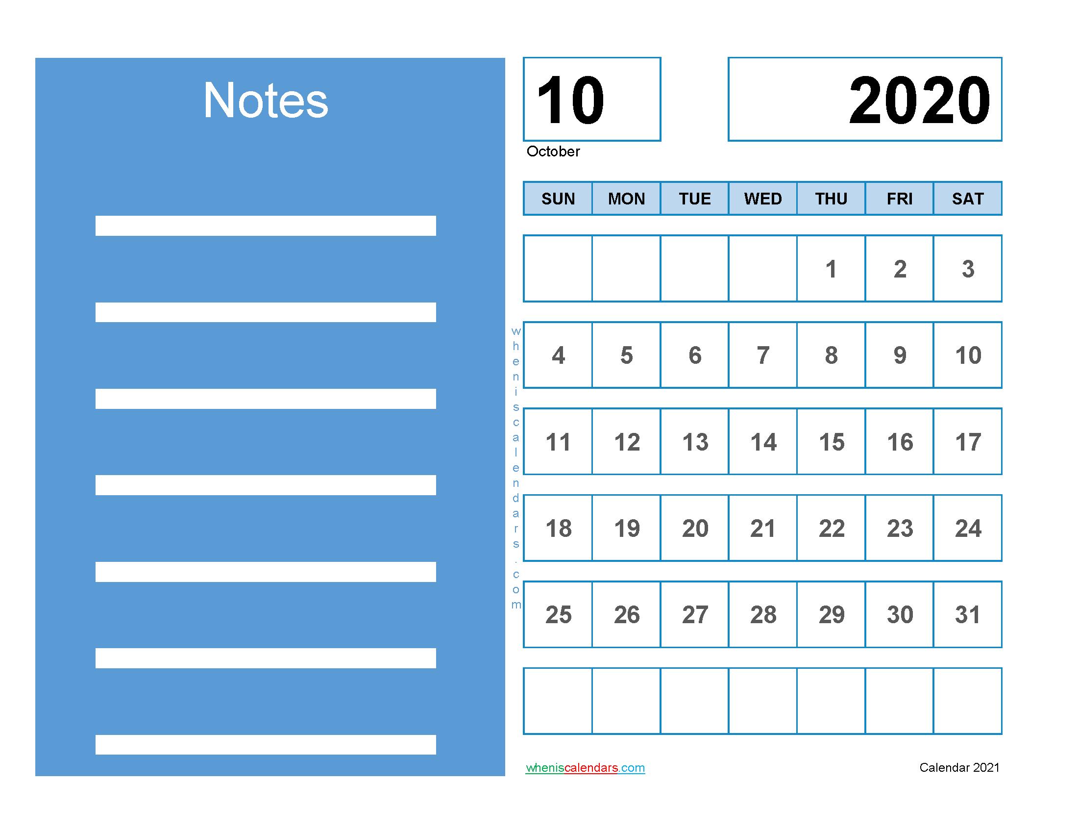 Printable Calendar October 2020 Free
