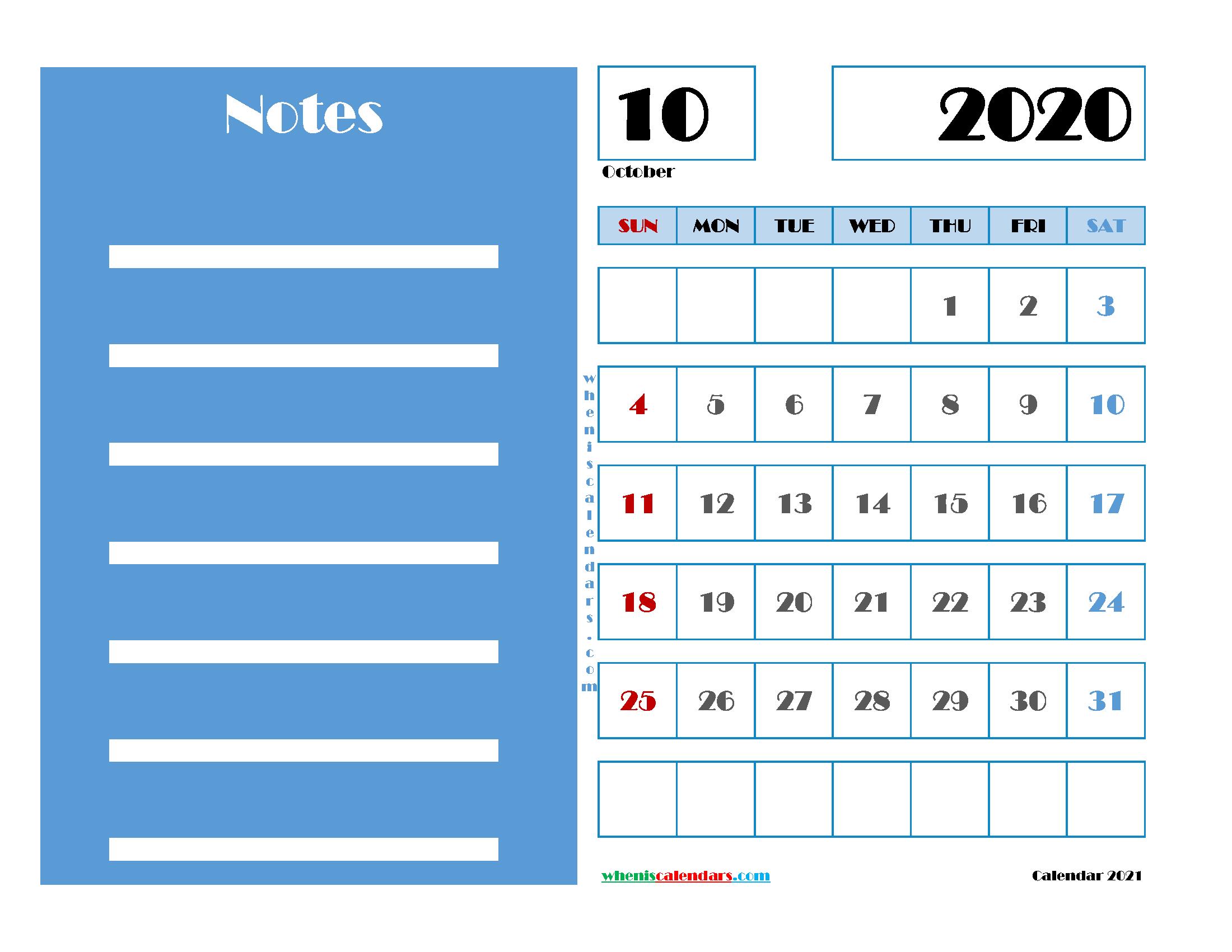 October 2020 Free Calendar Printable
