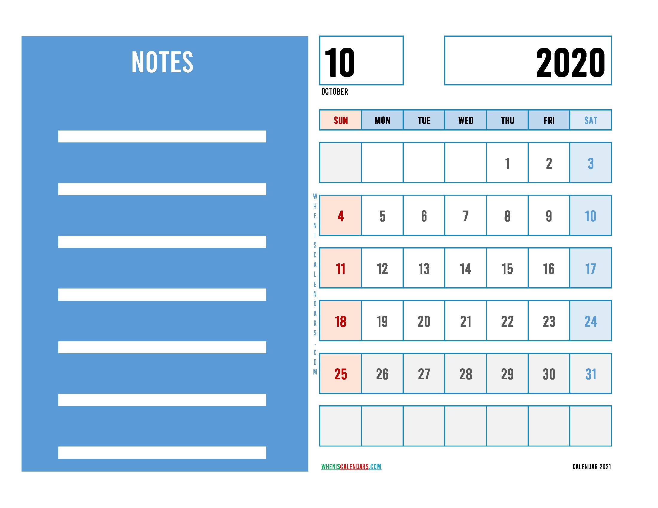 Editable October 2020 Calendar Printable