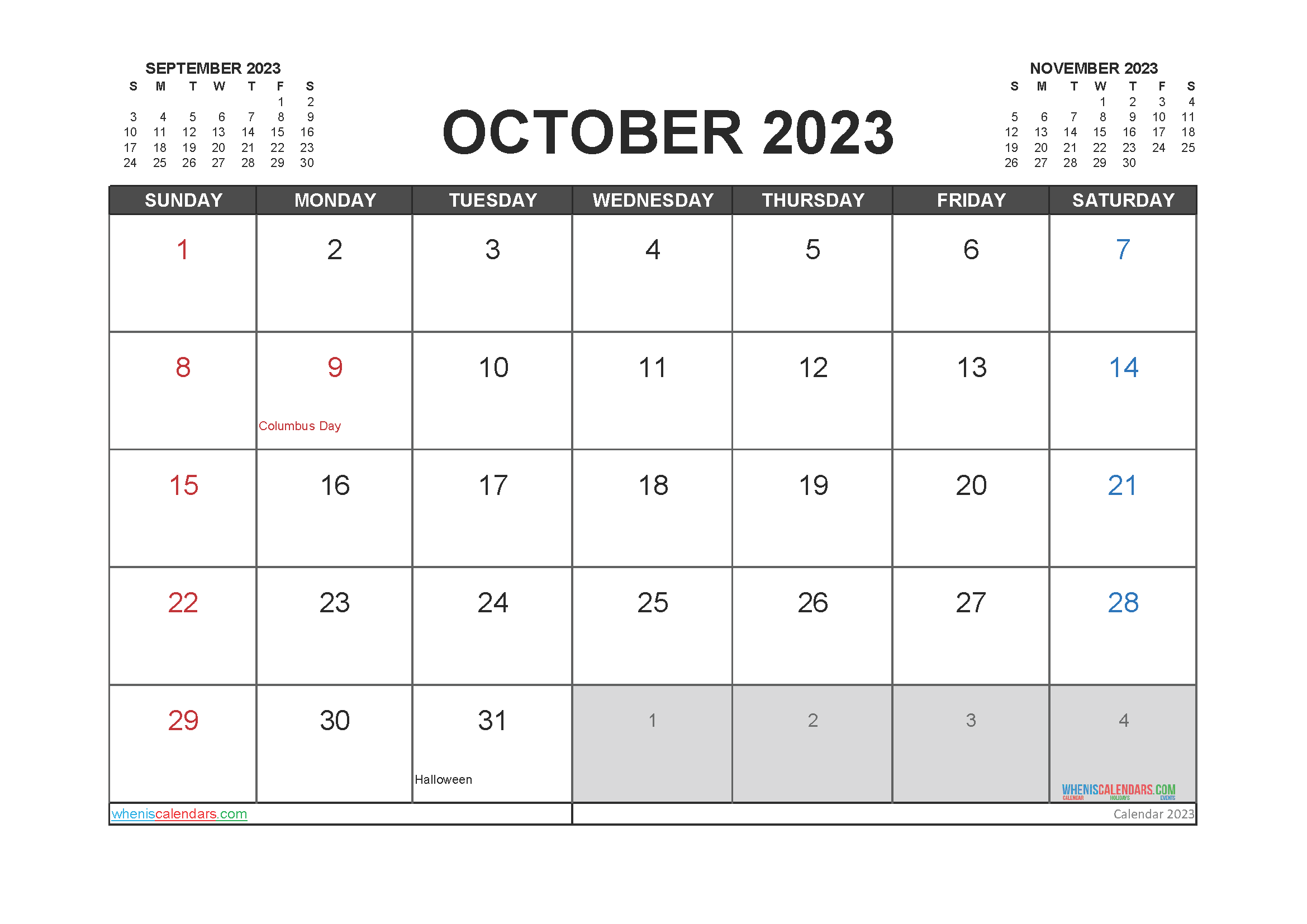Free October 2023 Printable Calendar