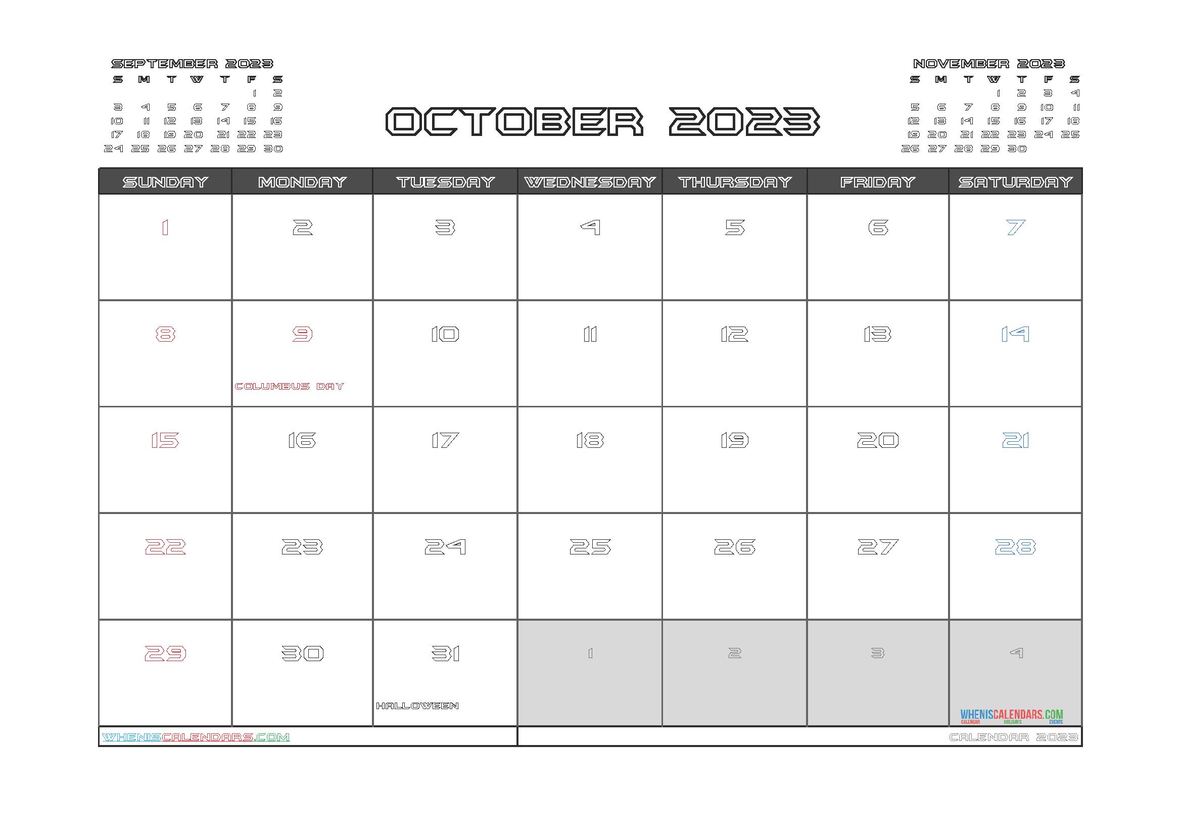 Printable Calendar October 2023 Free