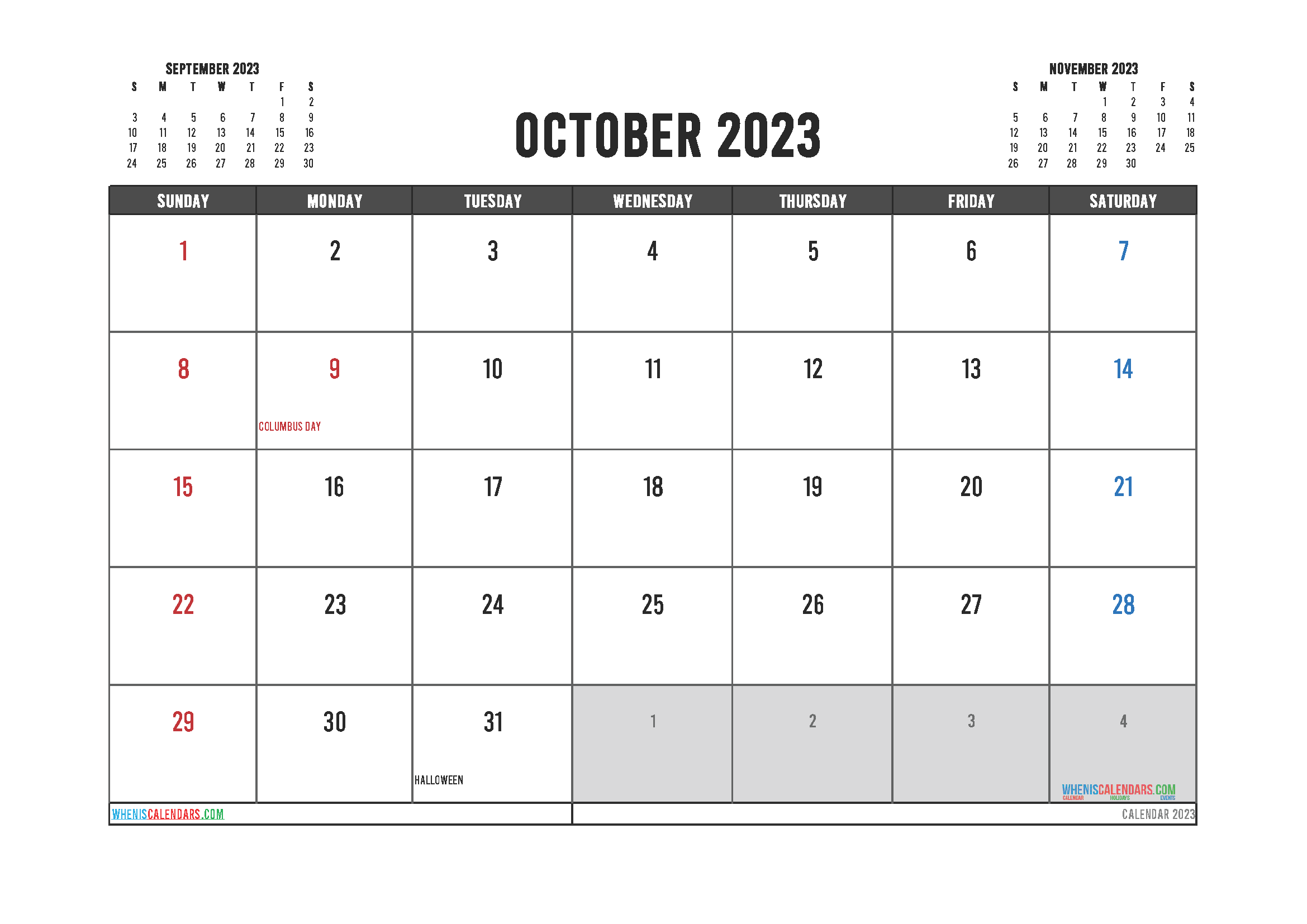 Editable Printable October 2023 Calendar