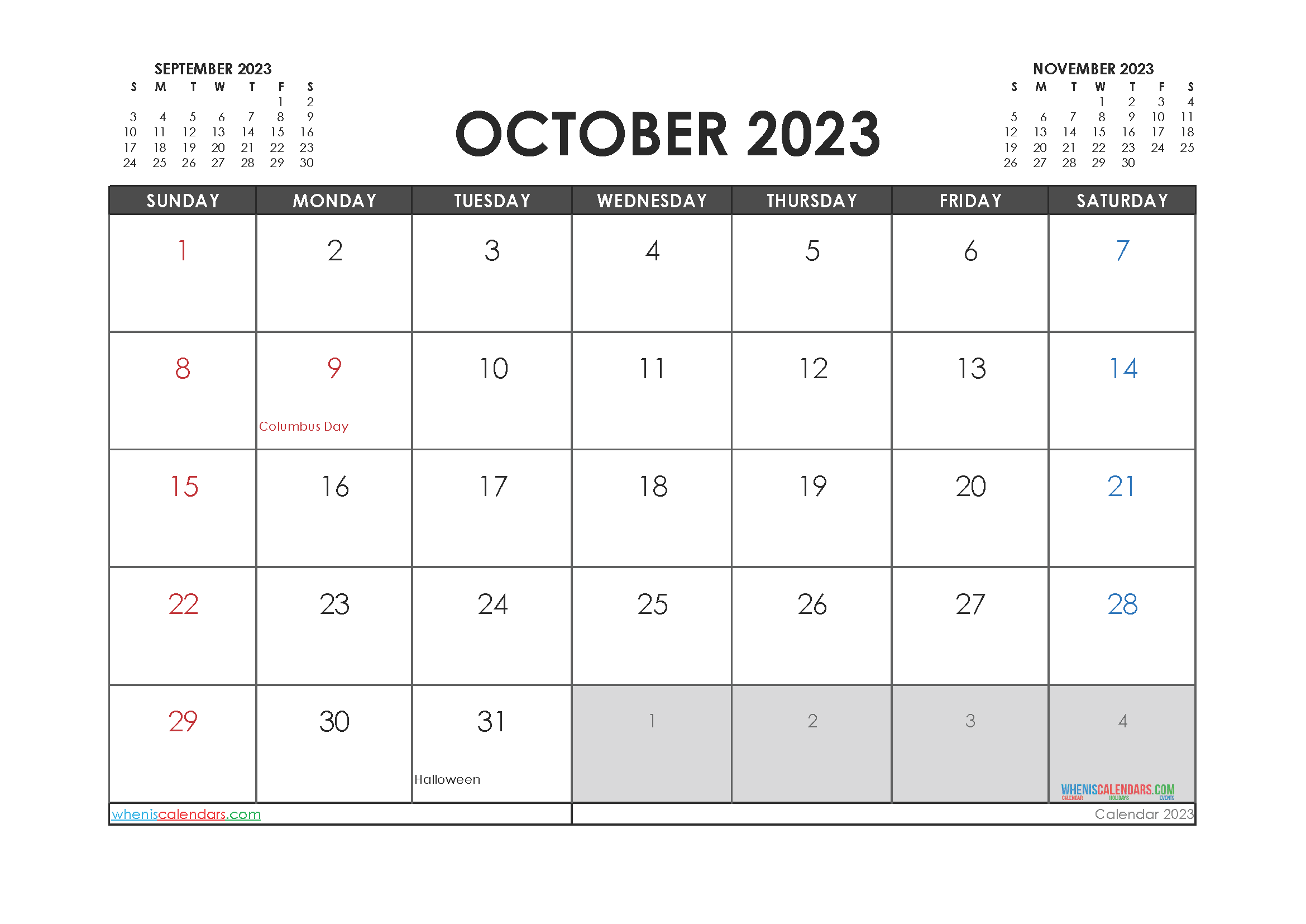 Free Printable Calendar October 2023