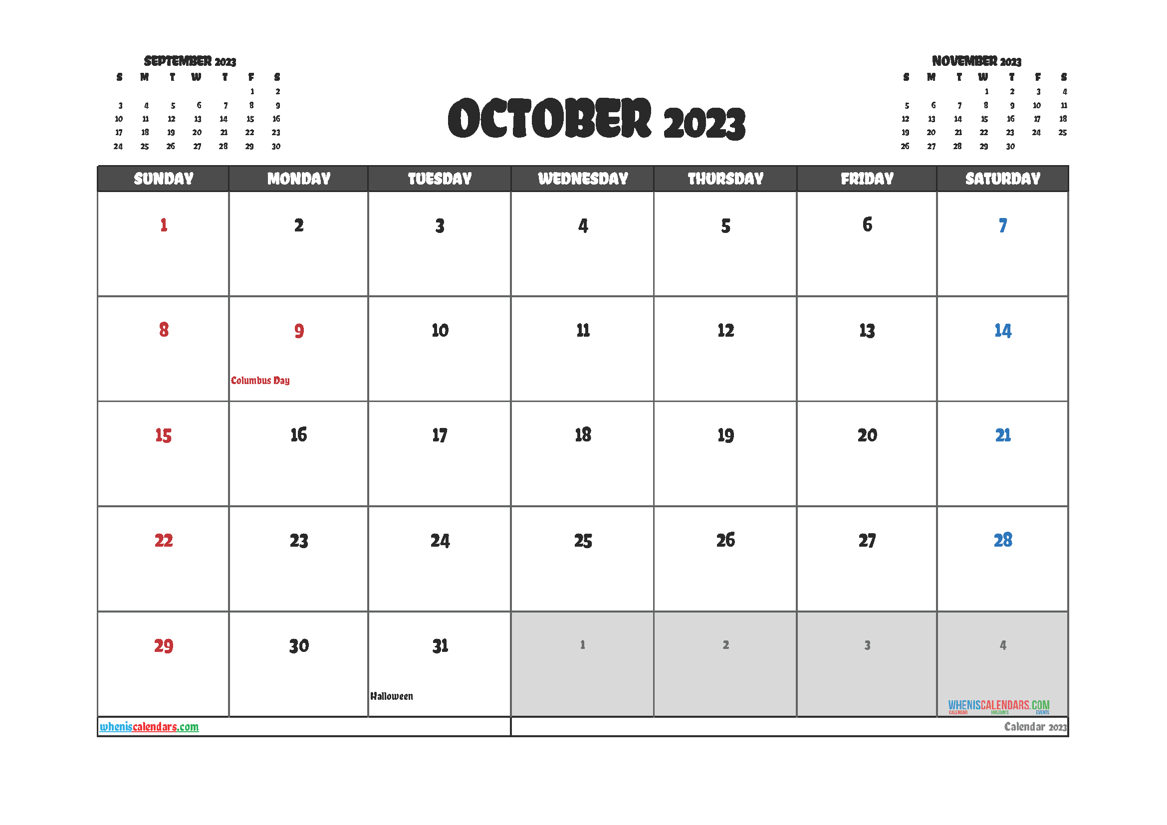 October 2023 Calendar Printable Free