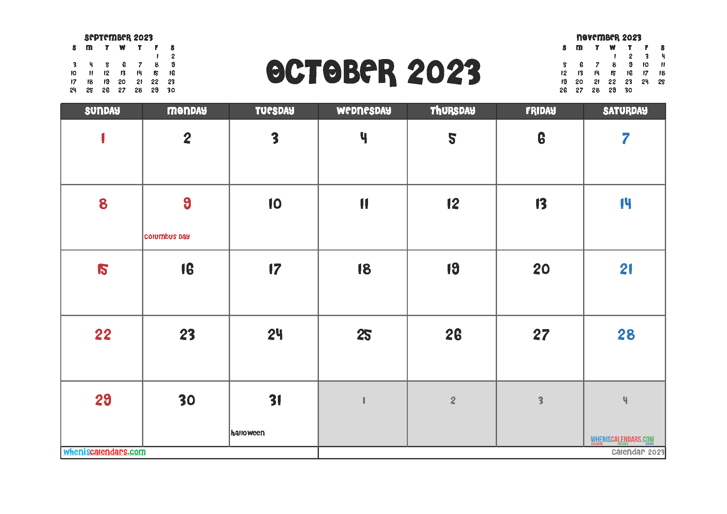 October 2023 Calendar Printable For Free