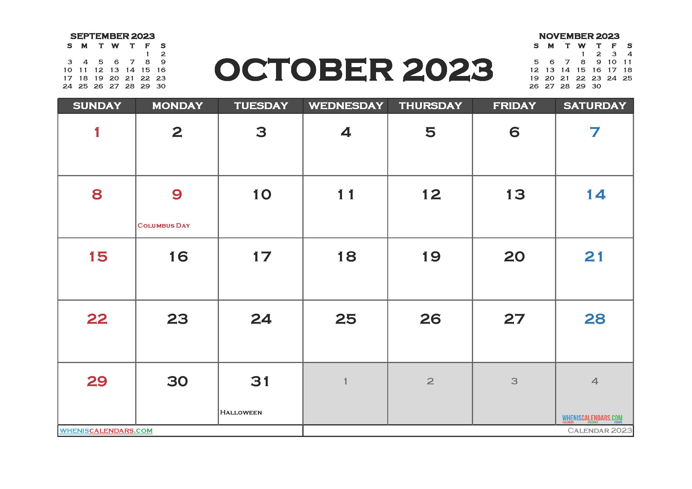 Free Editable October 2023 Calendar