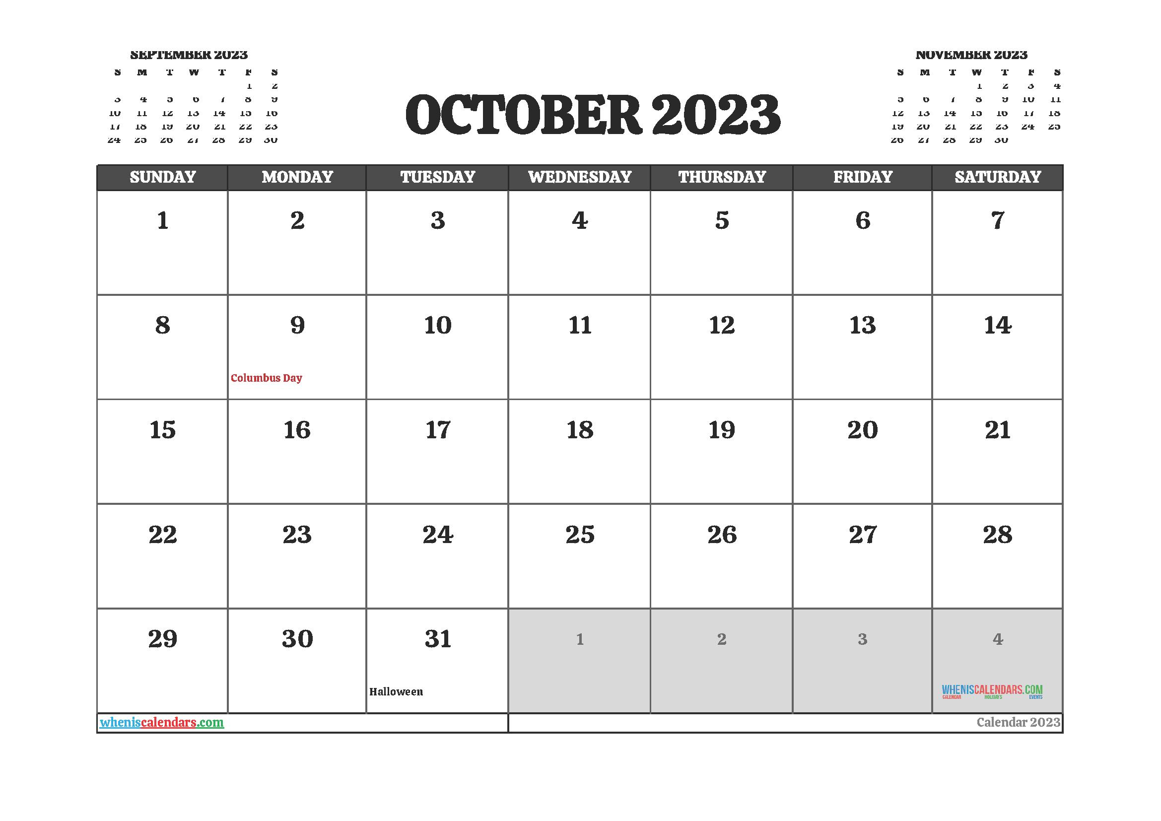 Free Printable October 2023 Calendar