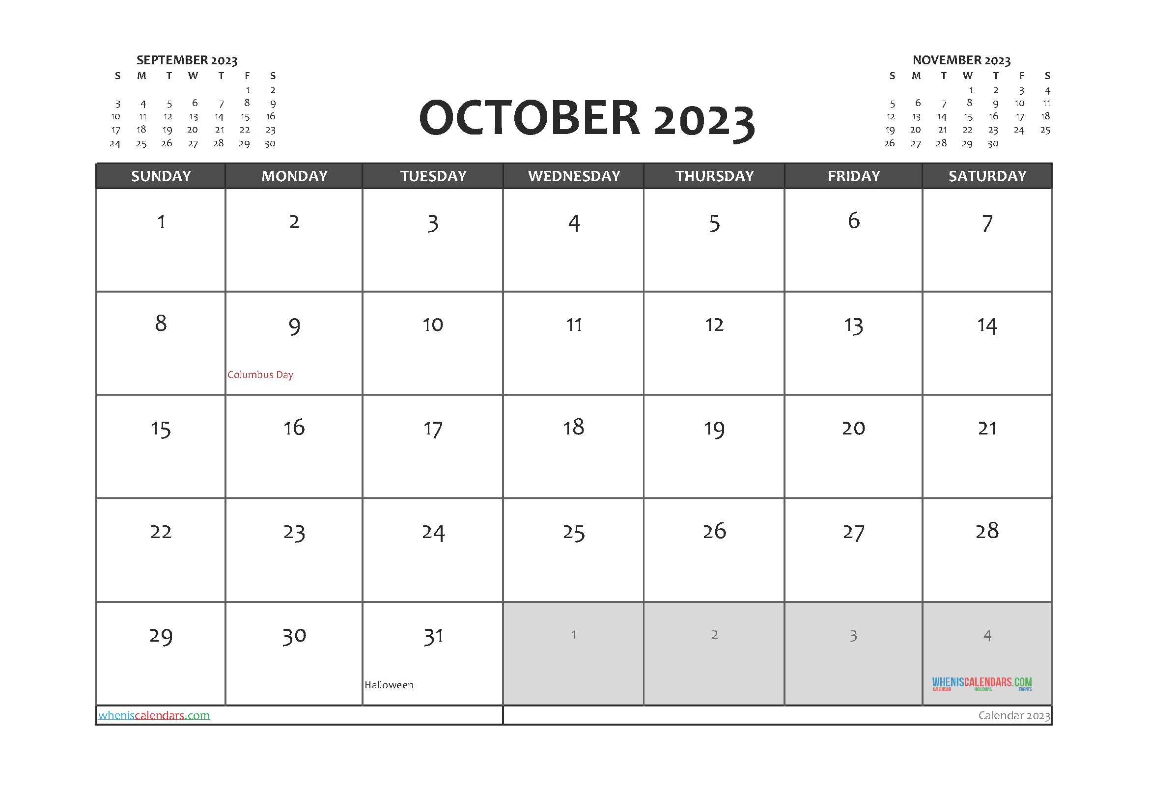 Printable October 2023 Calendar PDF