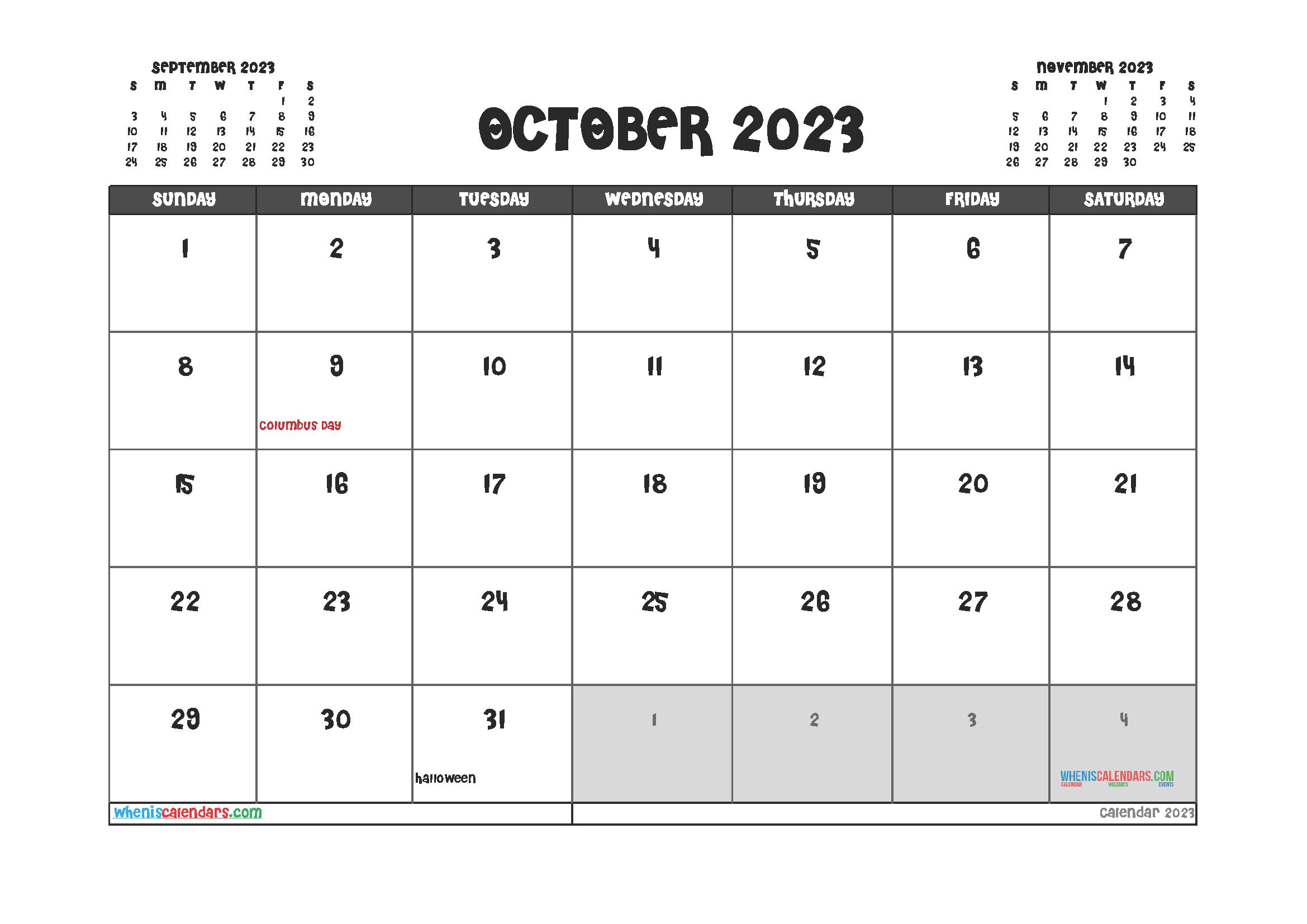Printable October 2023 Calendar Free