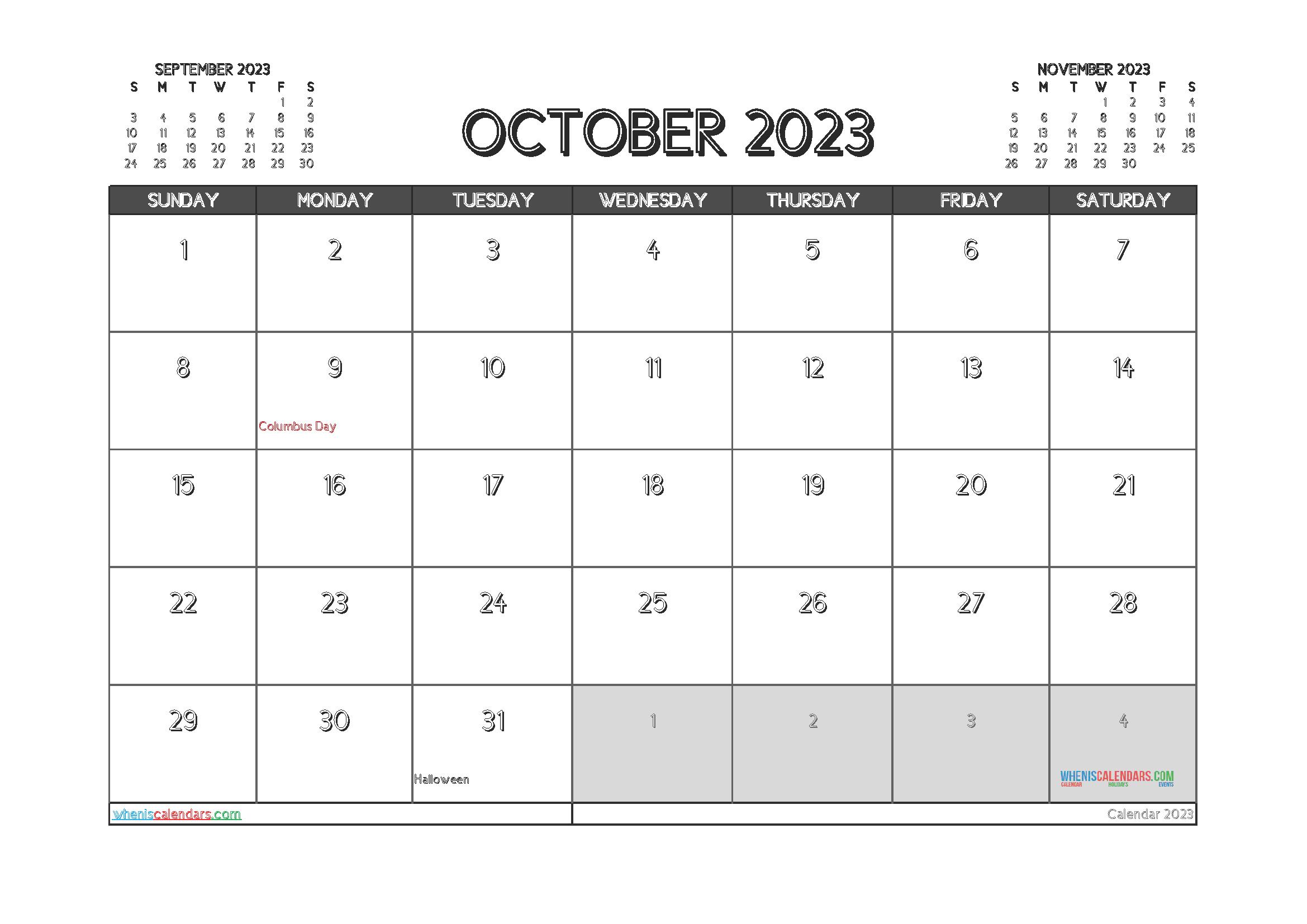Free Editable Calendar October 2023 PDF