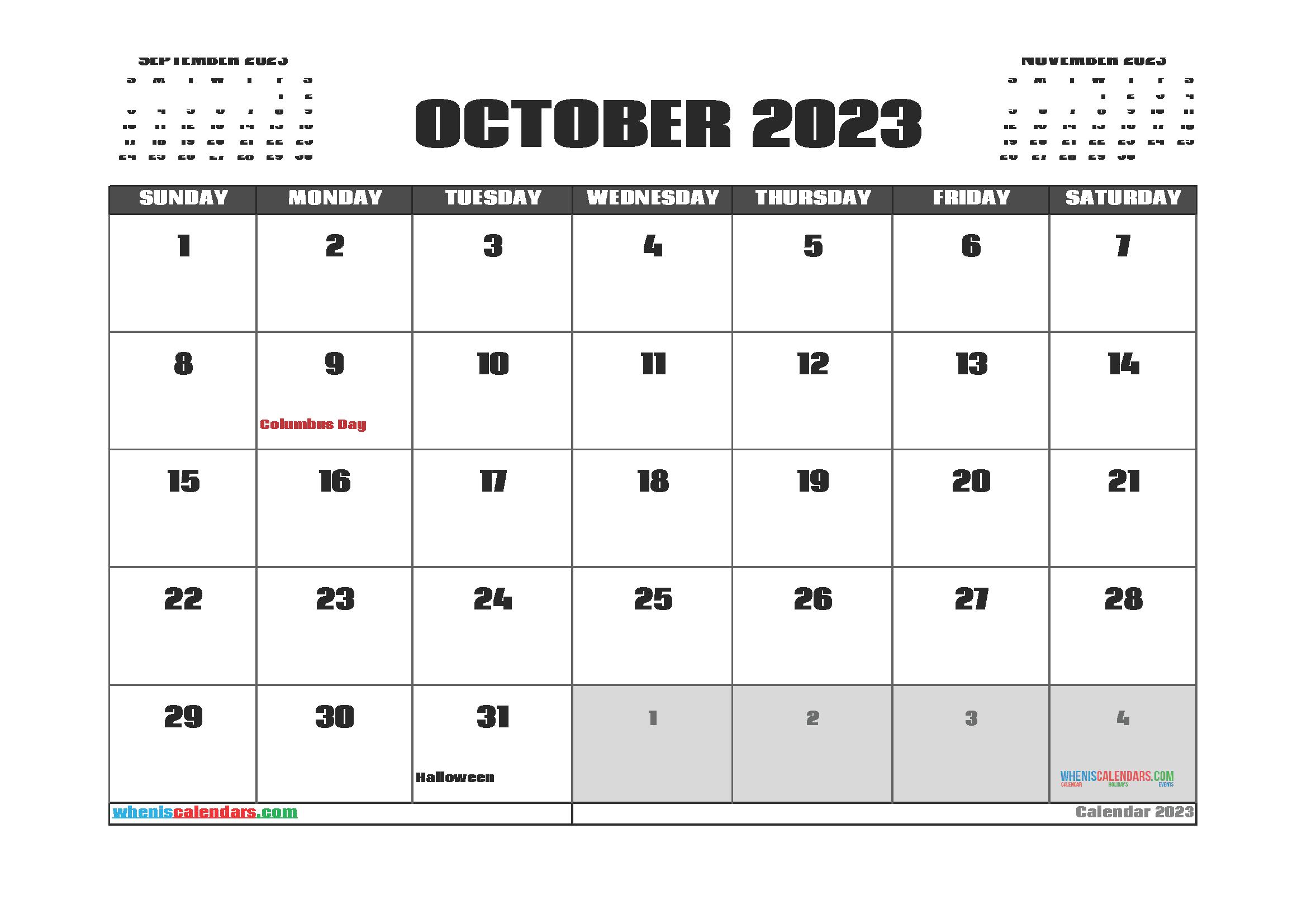 Free Editable October 2023 Printable Calendar