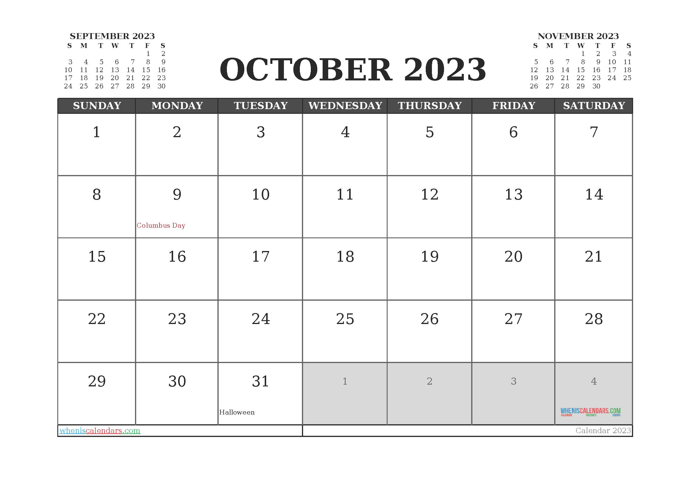 October 2023 Calendar Printable For Free