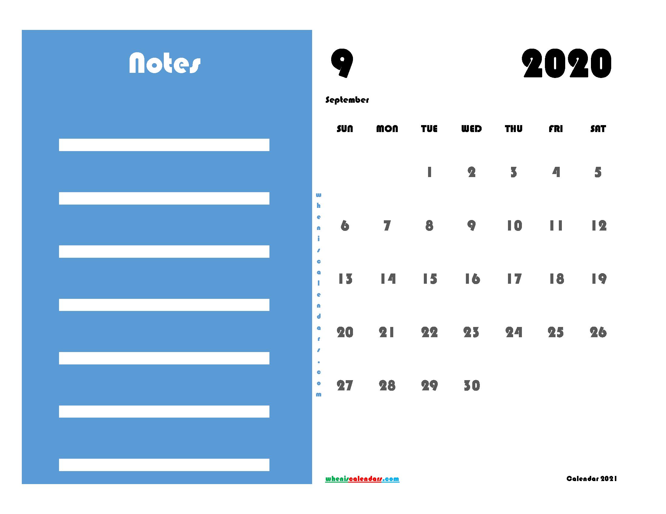 Free Editable September 2020 Calendar