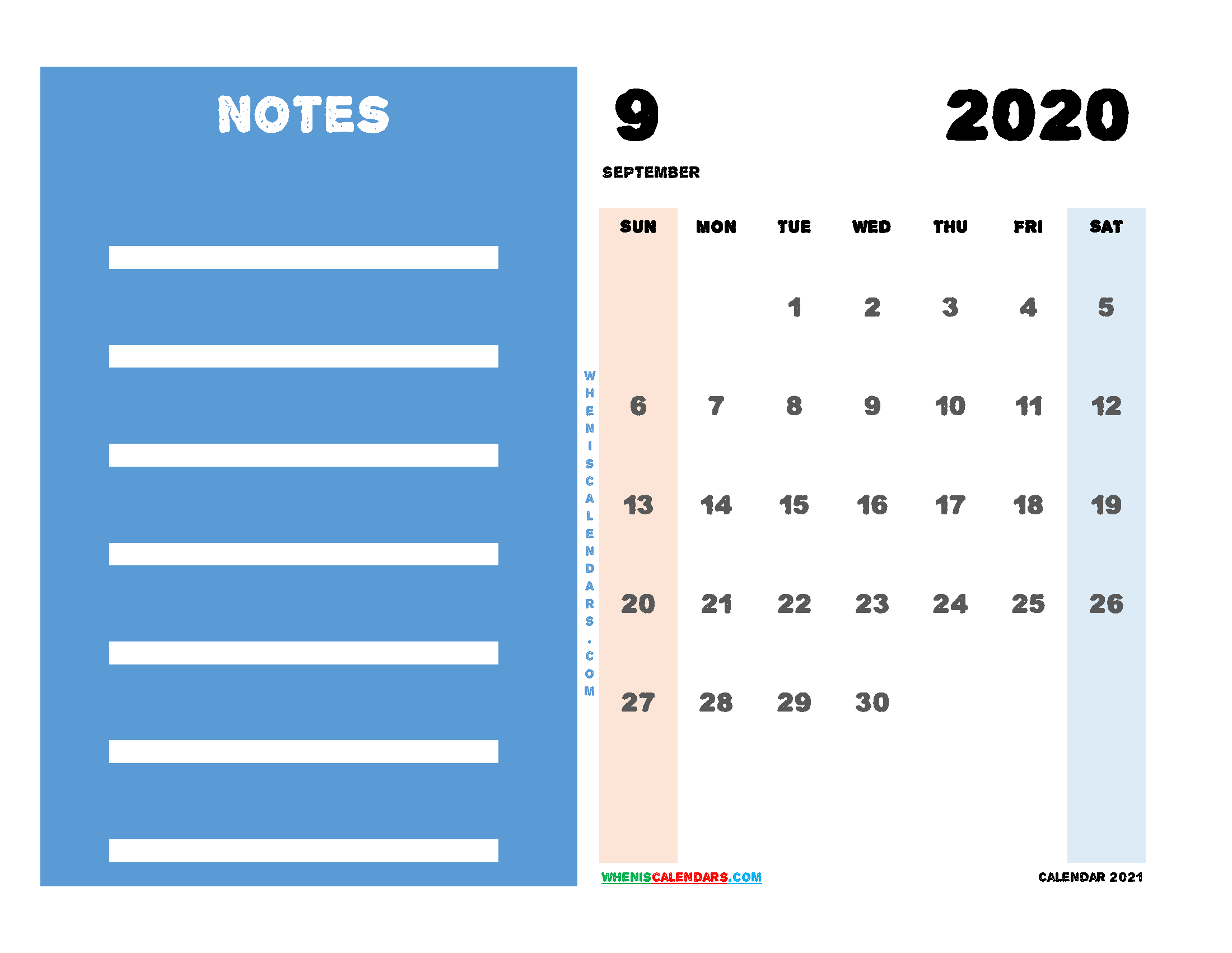 2020 September Calendar Printable Free