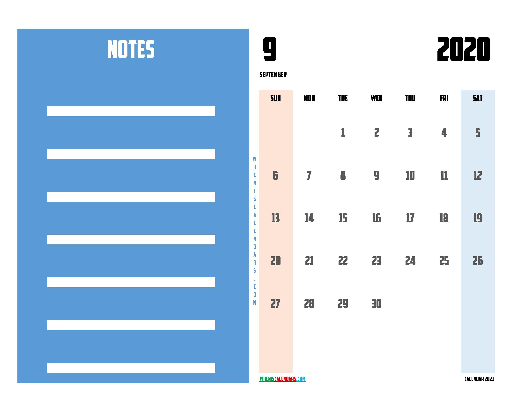 September 2020 Calendar Printable For Free