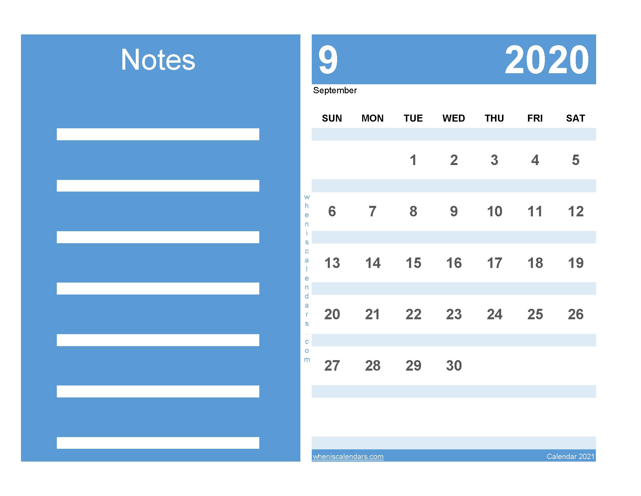 Printable Calendar September 2020 Free