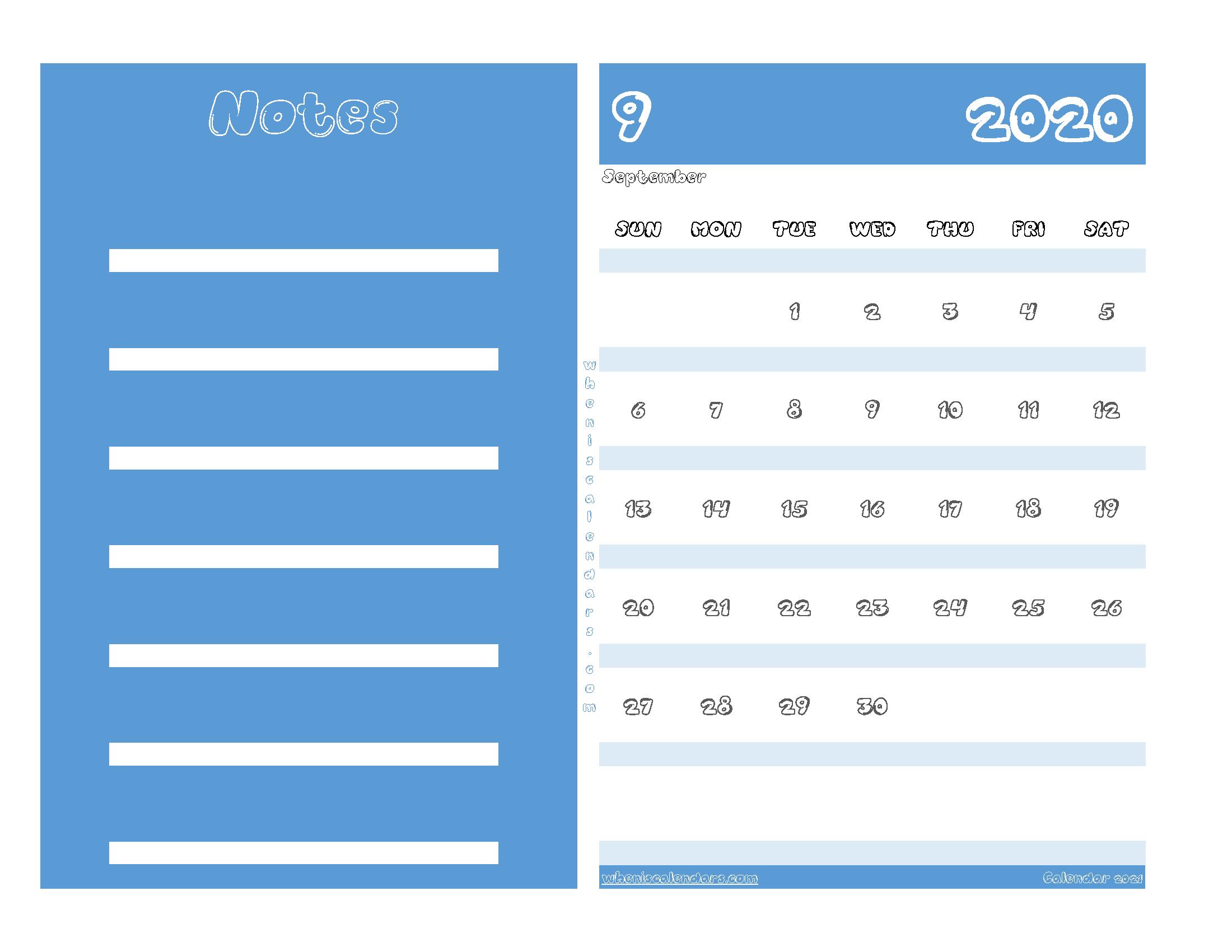 Free September 2020 Printable Calendar PDF
