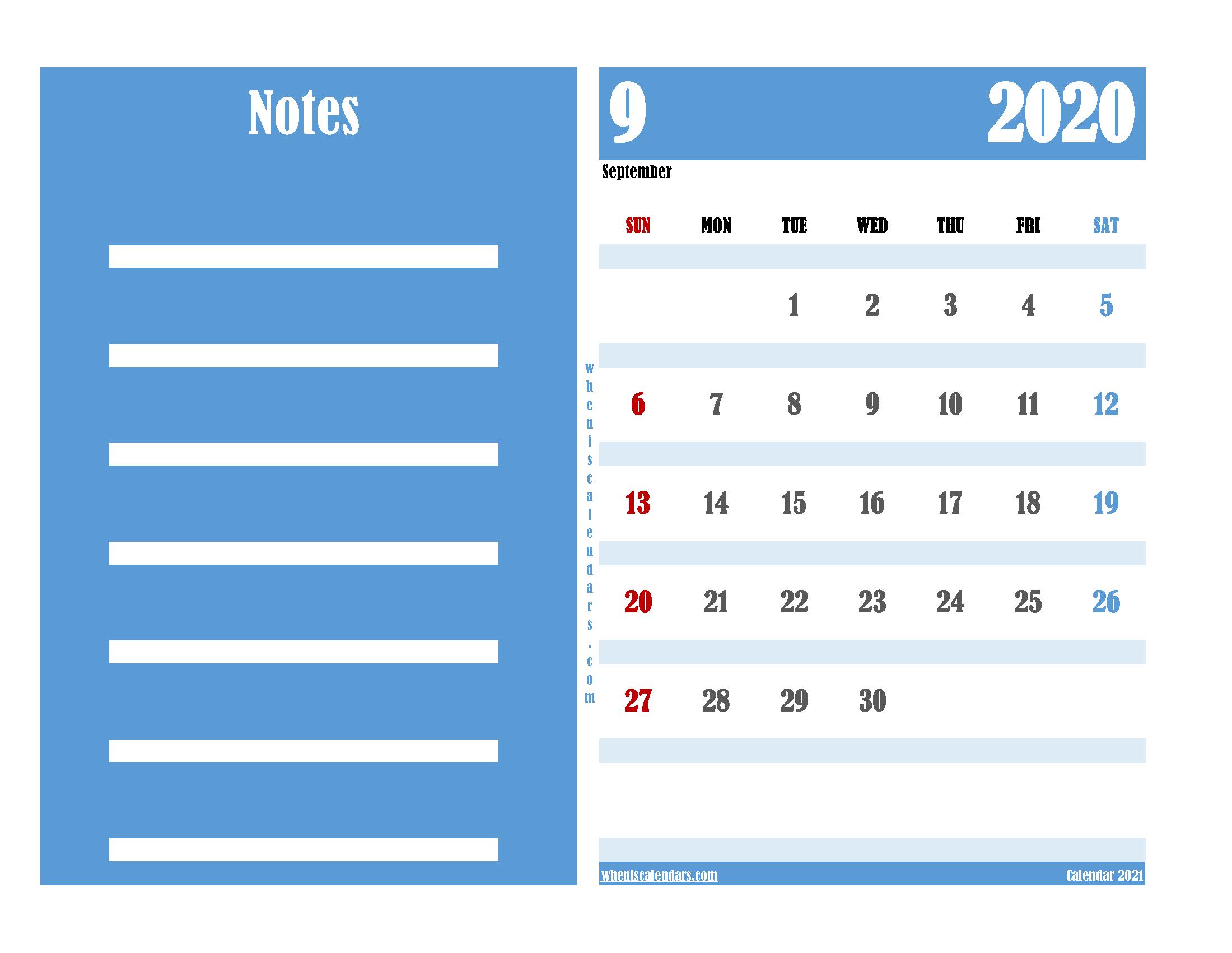 Free Editable Calendar September 2020 PDF