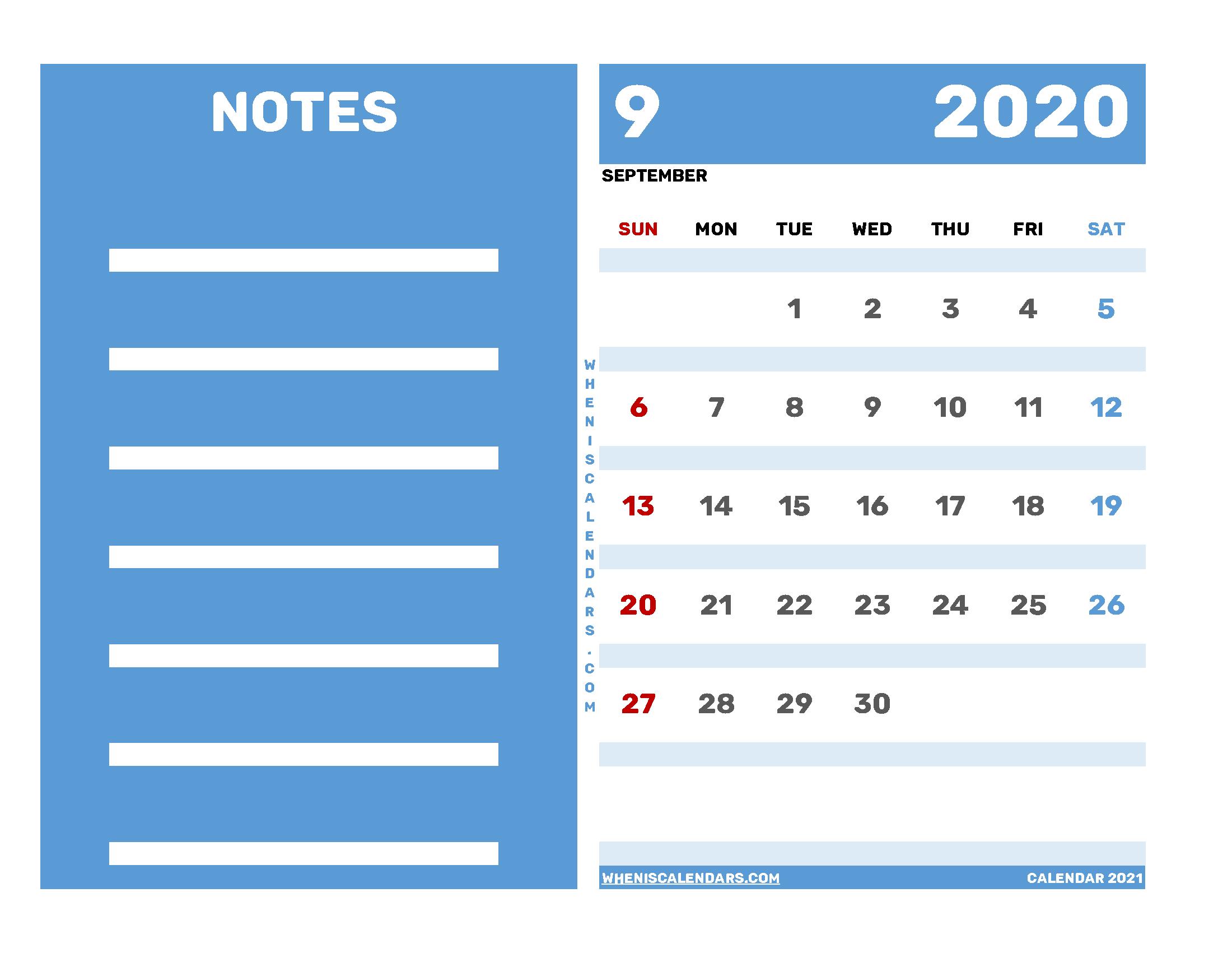 Free Editable September 2020 Printable Calendar