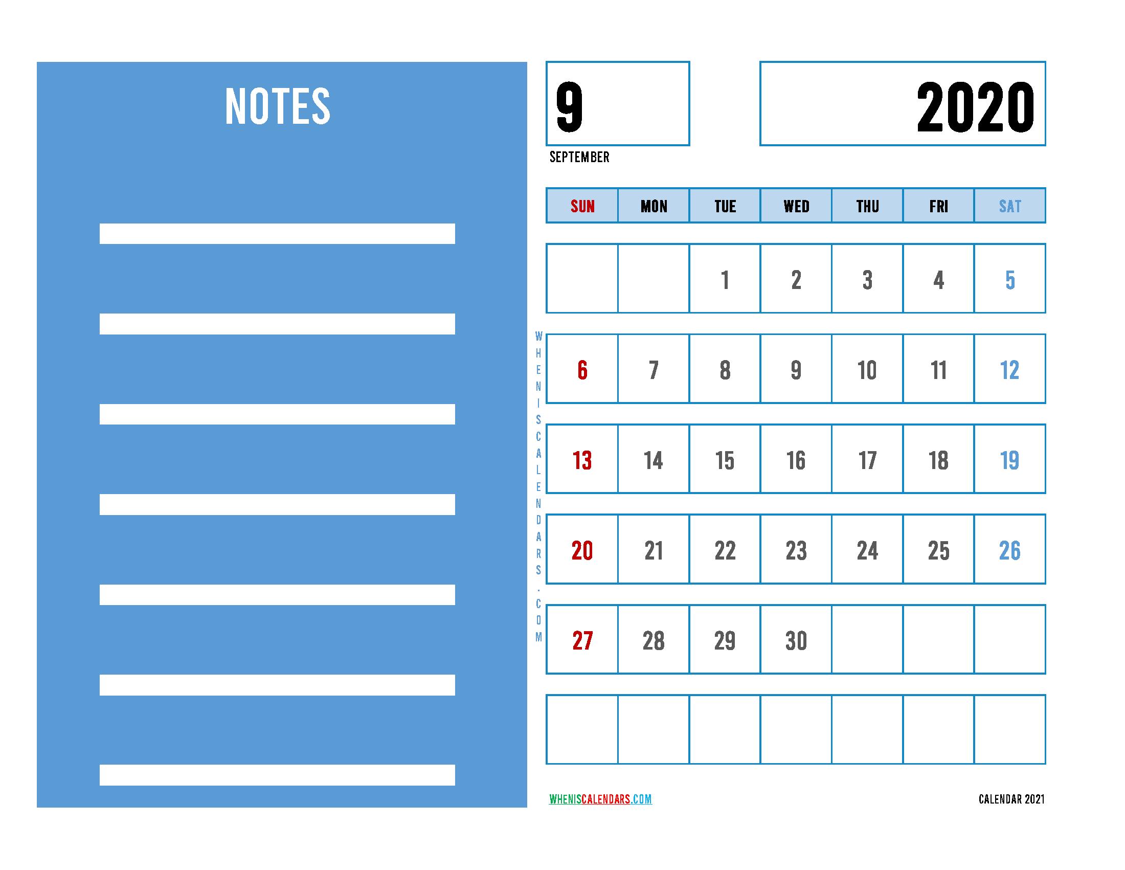 Editable September 2020 Calendar Printable