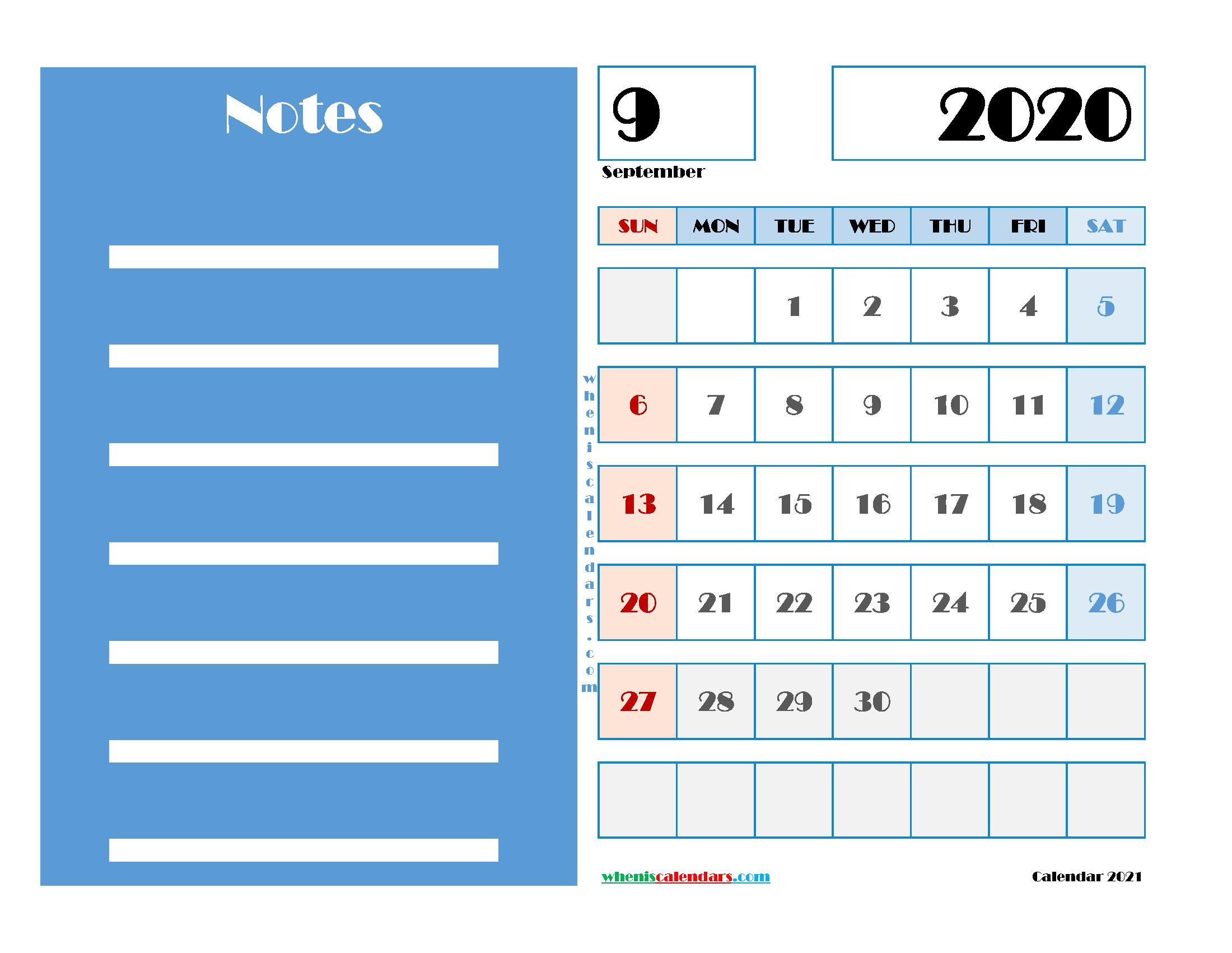 September 2020 Free Calendar Printable