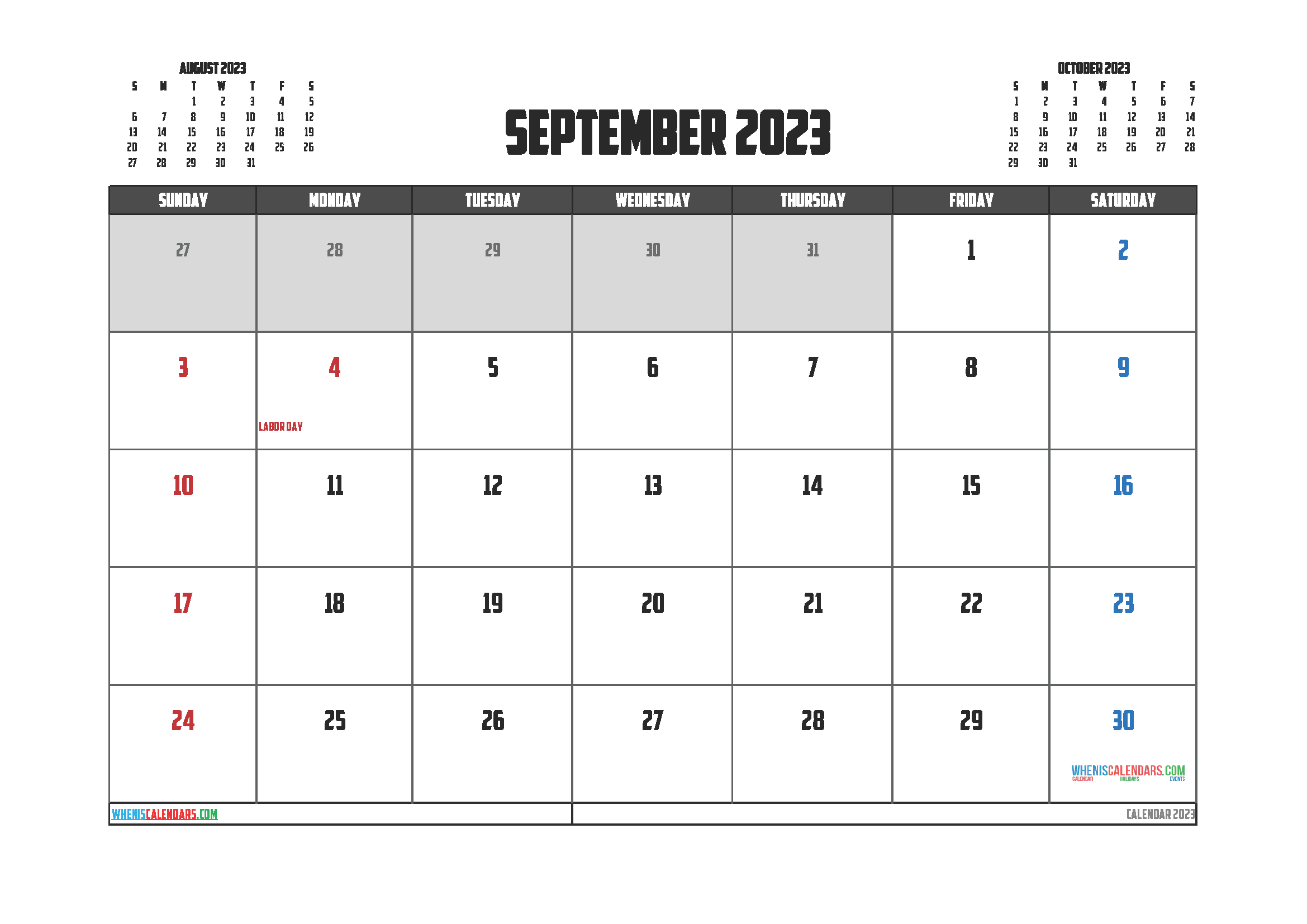 September 2023 Free Calendar Printable