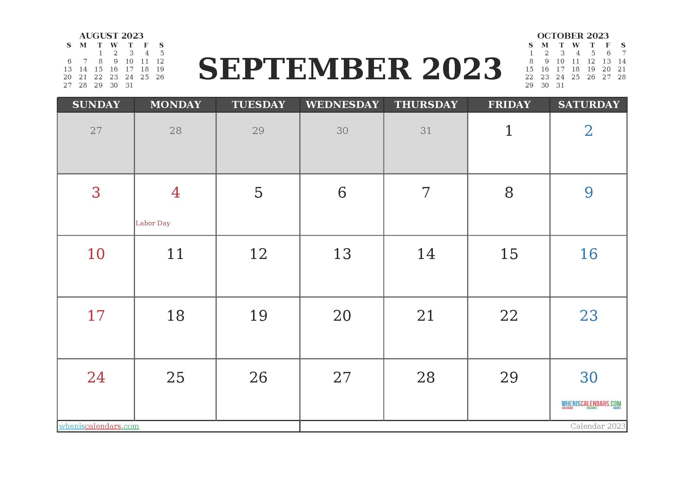 Printable September 2023 Calendar Free